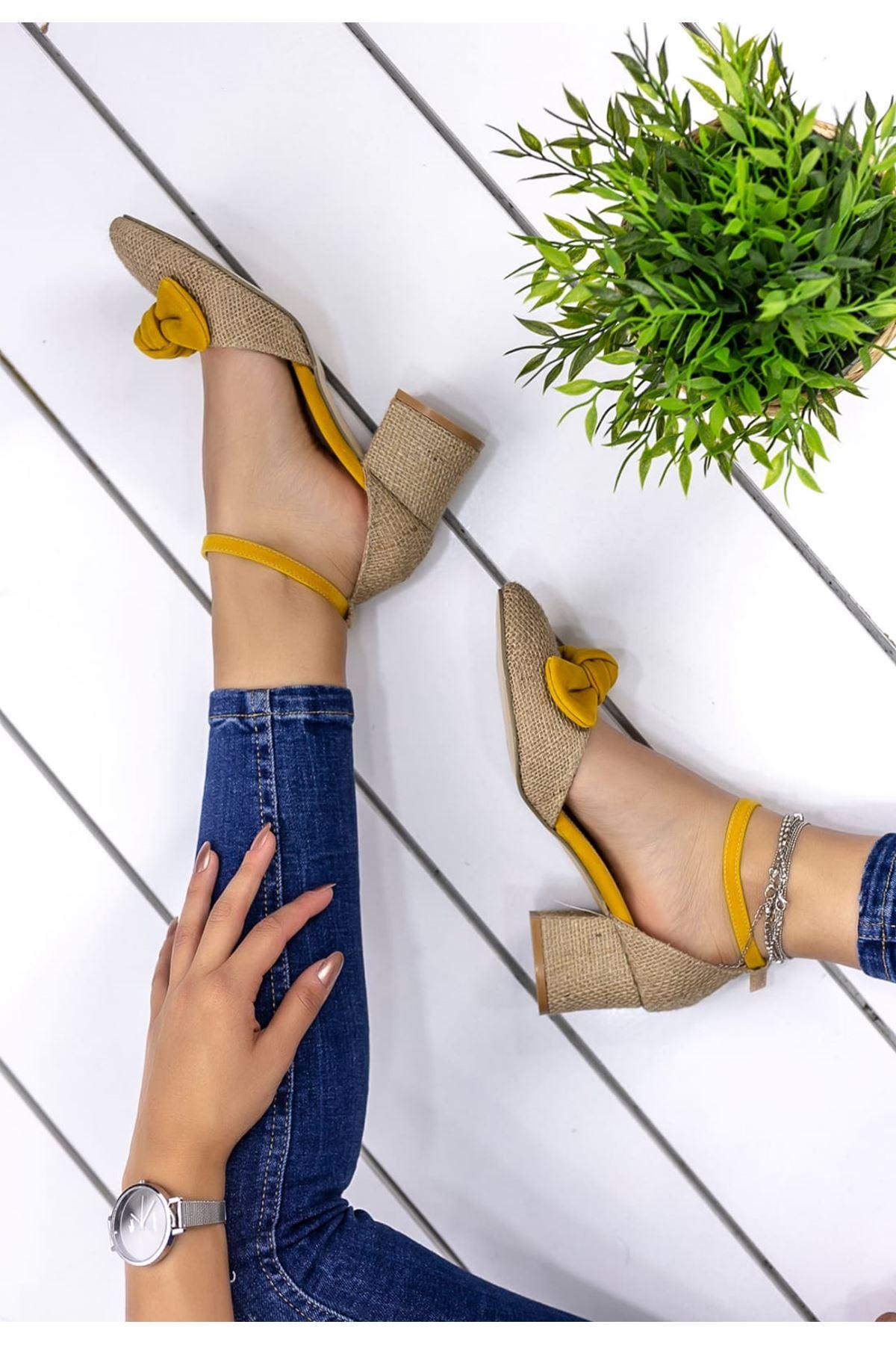 Hasır Fiyonk Detay Sivri Burun Ayakkabı Hardal