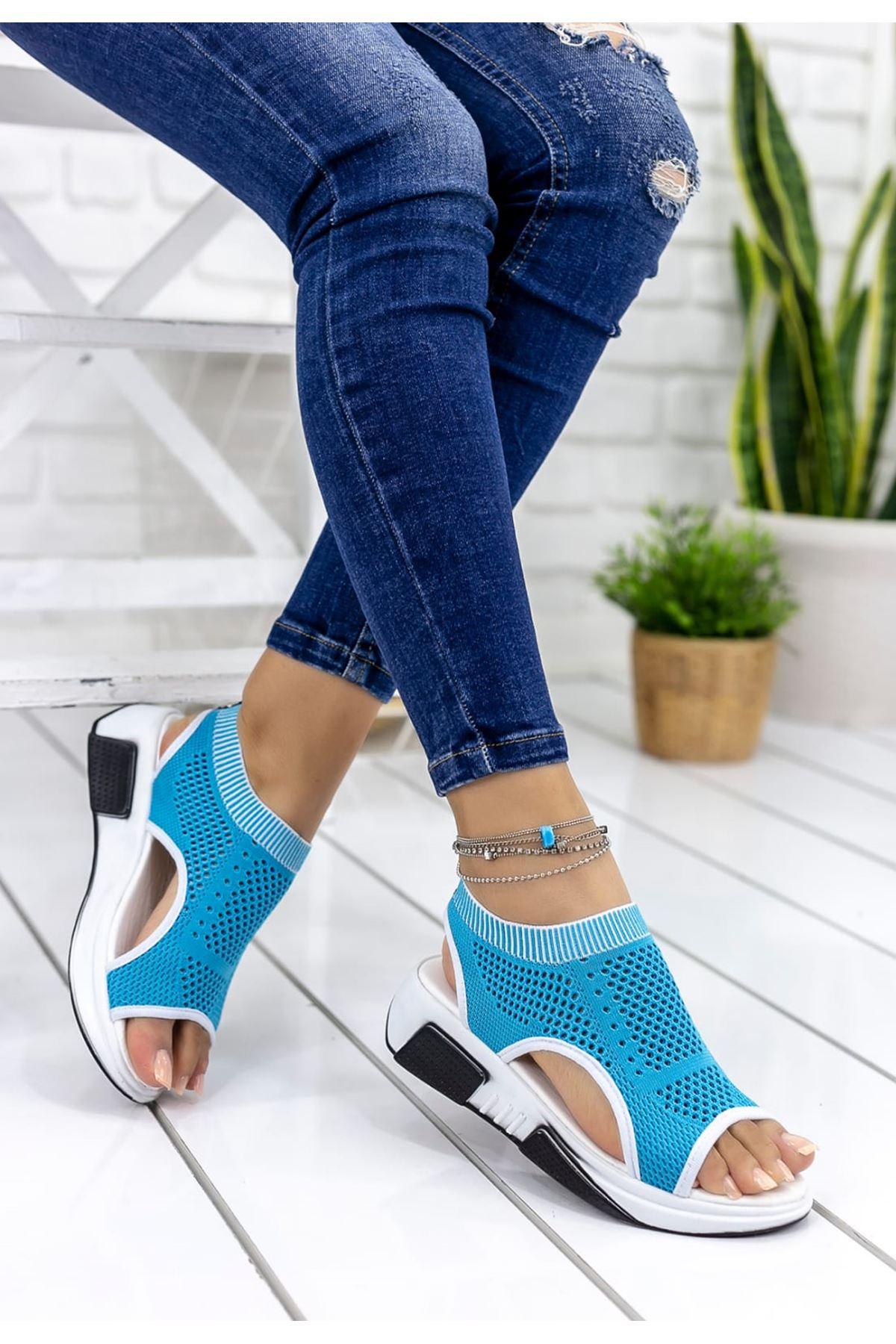 Ashley Çelik Örgü Detay Triko Sandalet Mavi