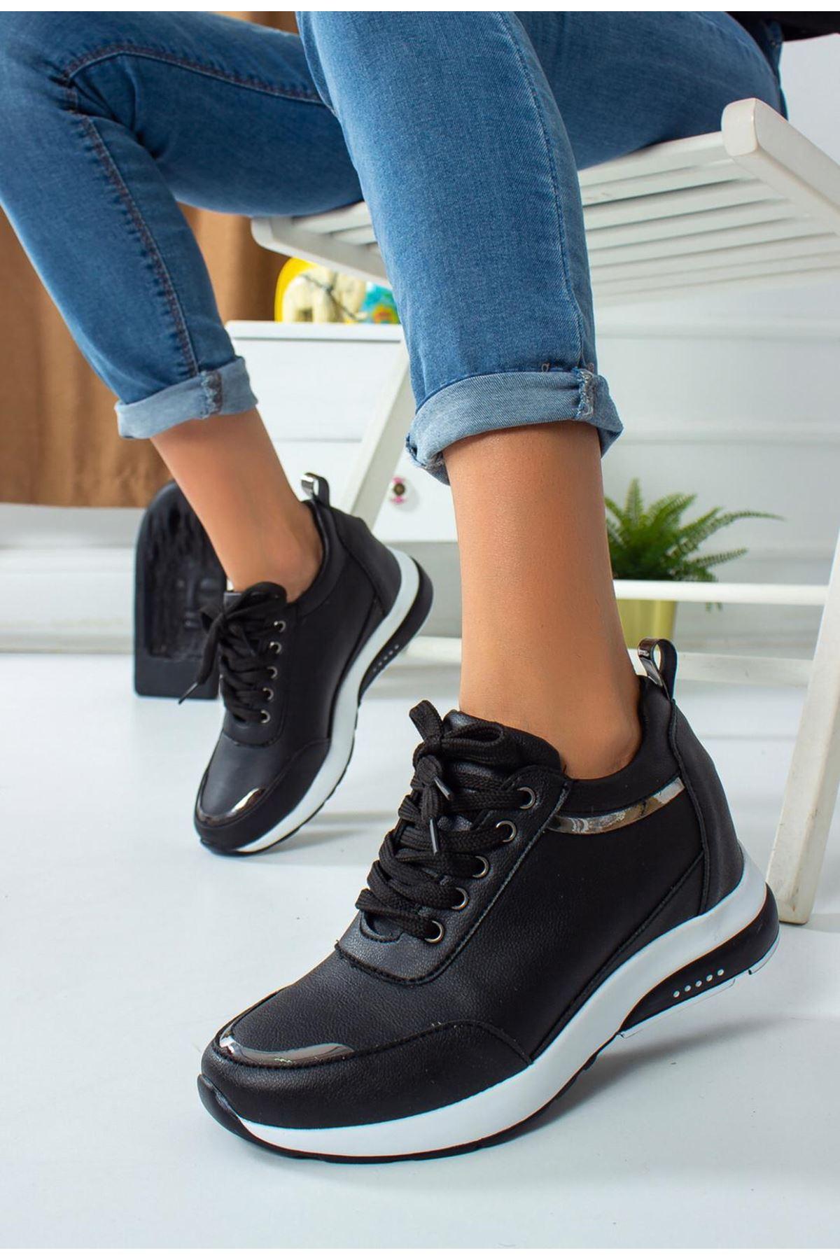For514 Siyah Bağcık Detaylı Kadın Spor Ayakkabı