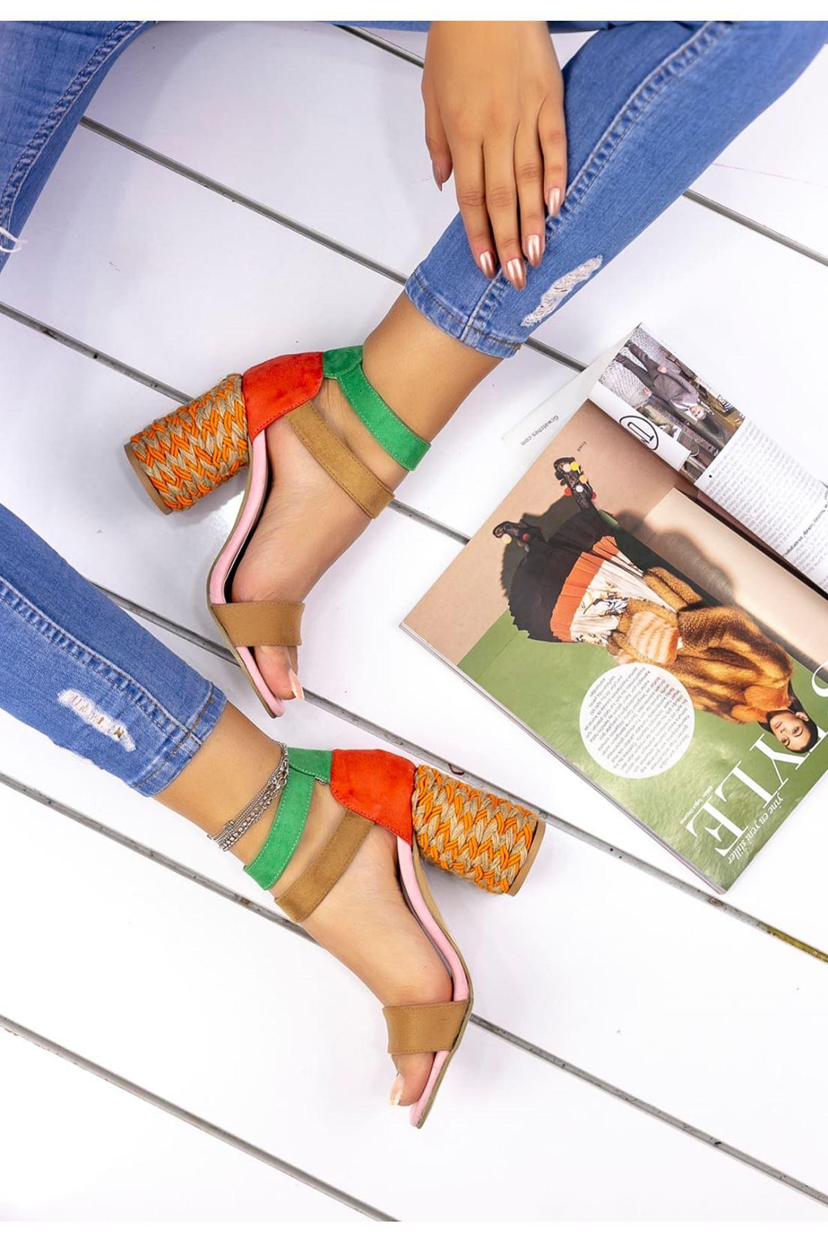 Martha Süet Hasır Topuk Detay Tek Bant Ayakkabı Vizon