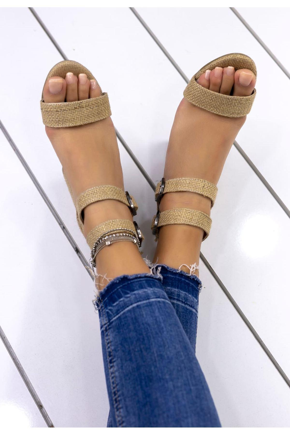 Natalie Toka Detaylı Hasır Topuklu Ayakkabı