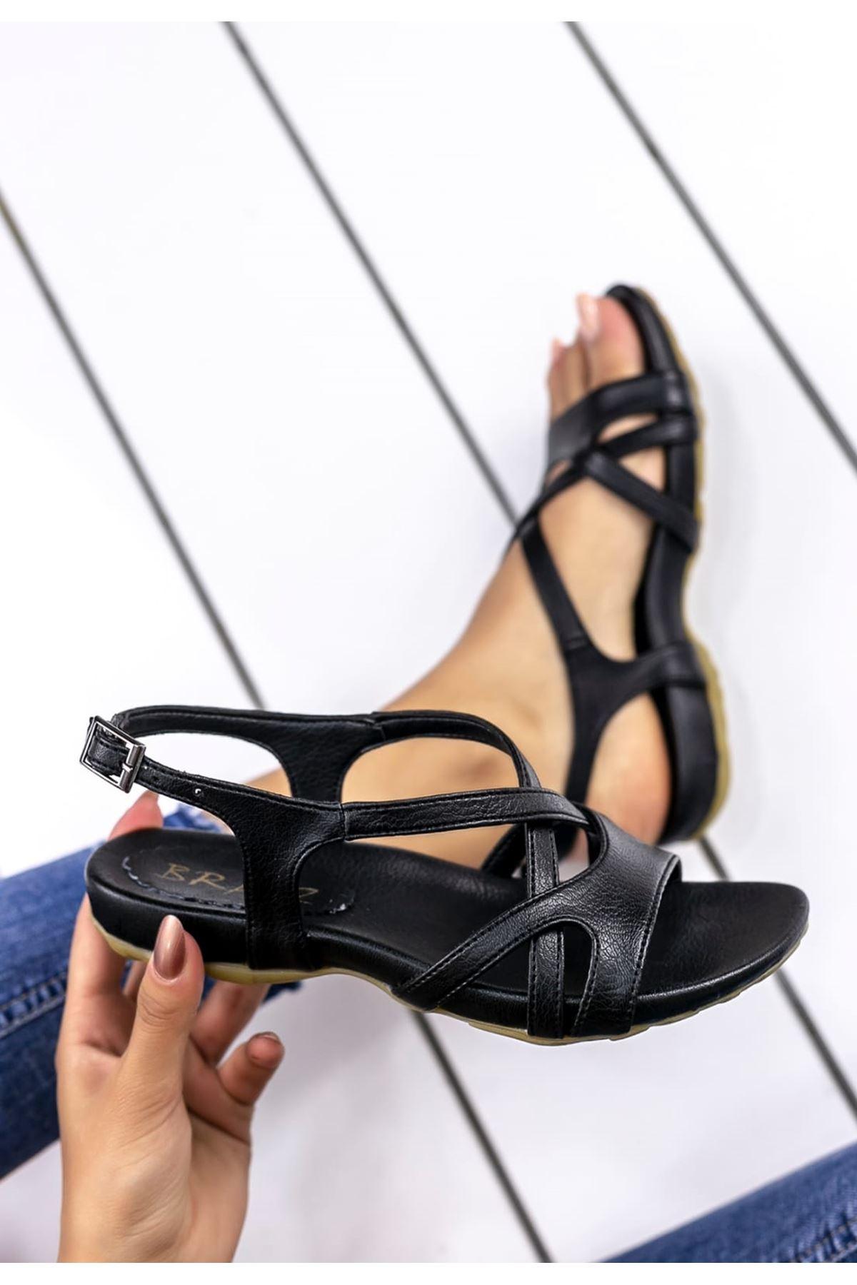 Alya Mat Deri Çapraz Bant Kadın Sandalet Siyah