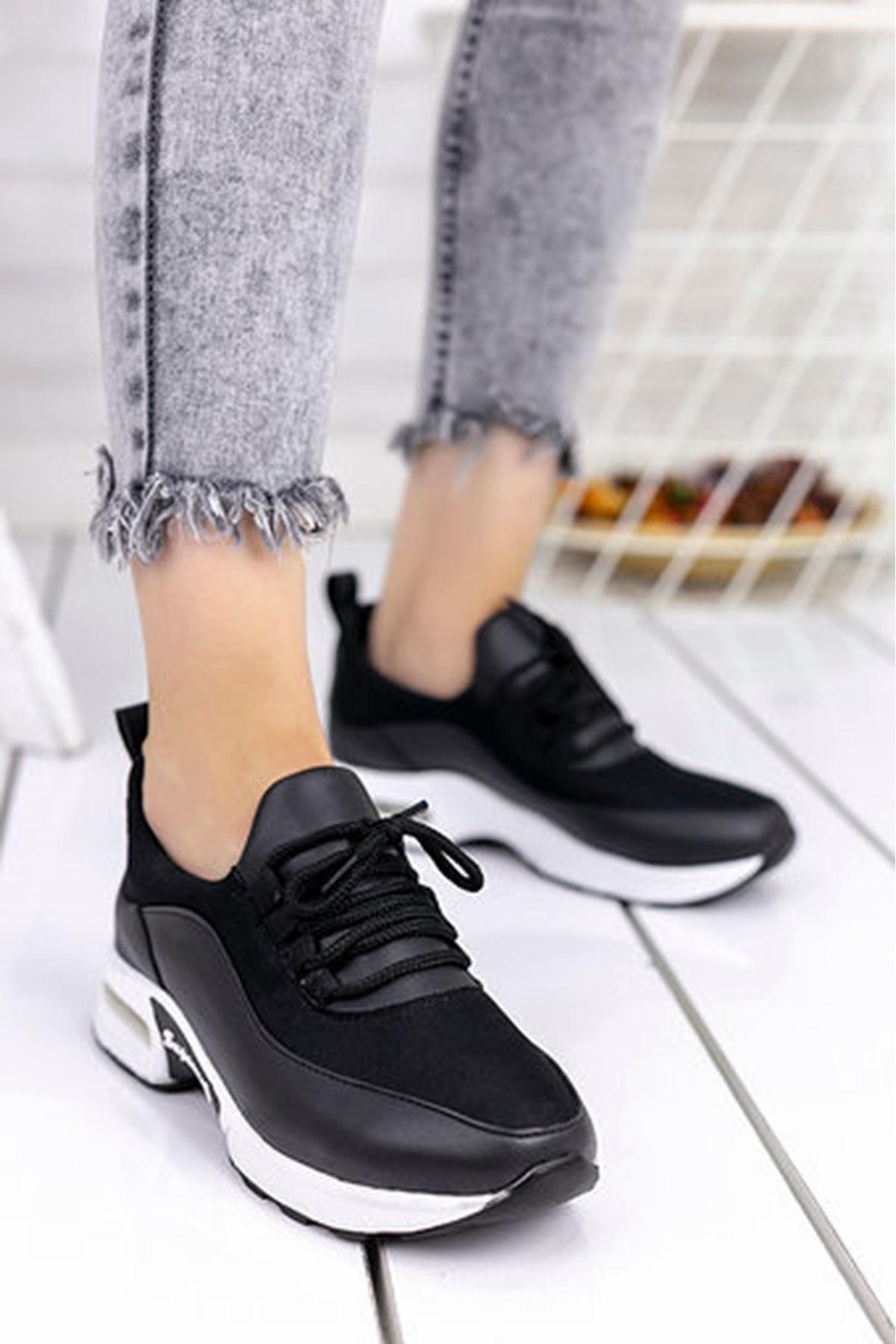 Lexi Hava Tabanlı Dalgıç Kumaş Detay Spor Ayakkabı Siyah