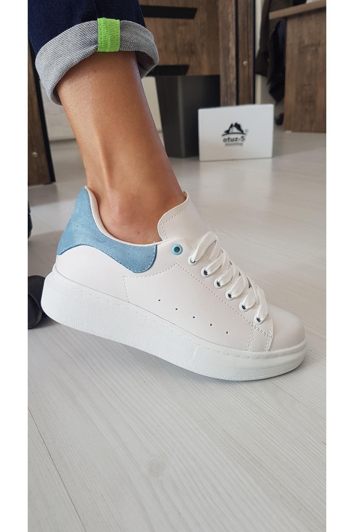 Lucy Mat Deri Bebek Mavi Süet Detay Sneakers Beyaz
