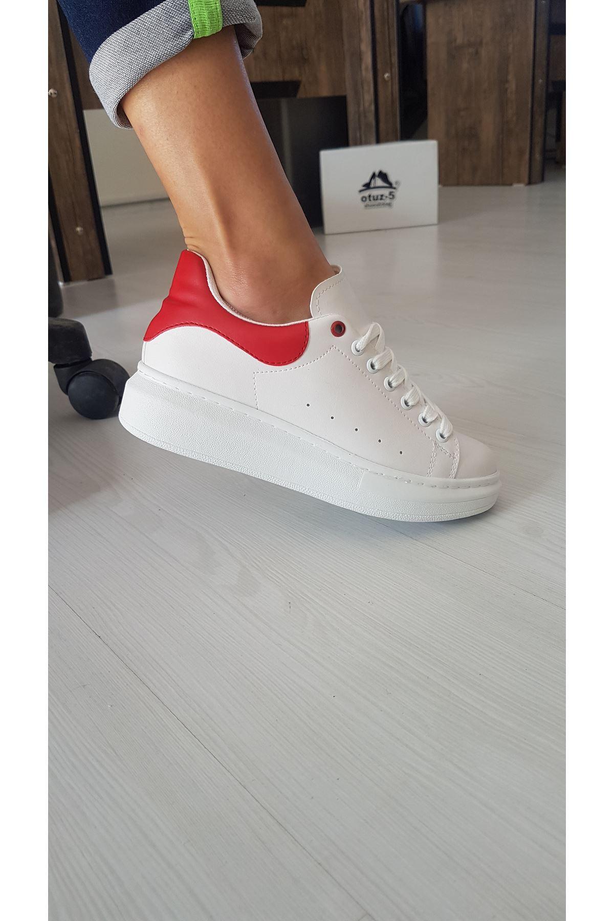 Lucy Mat Deri Kırmızı Detay Sneakers Beyaz