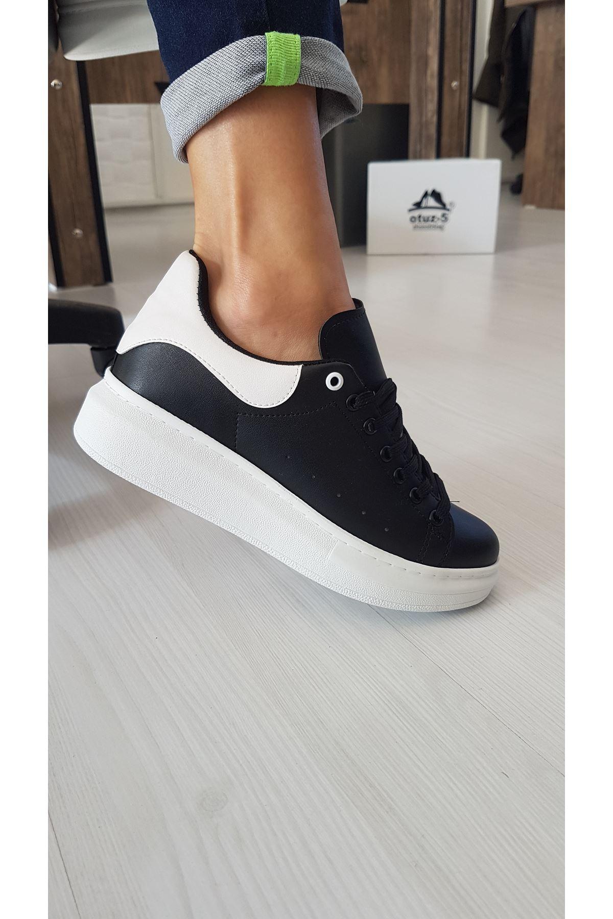 Lucy Mat Deri Beyaz Cilt Detay Sneakers Siyah