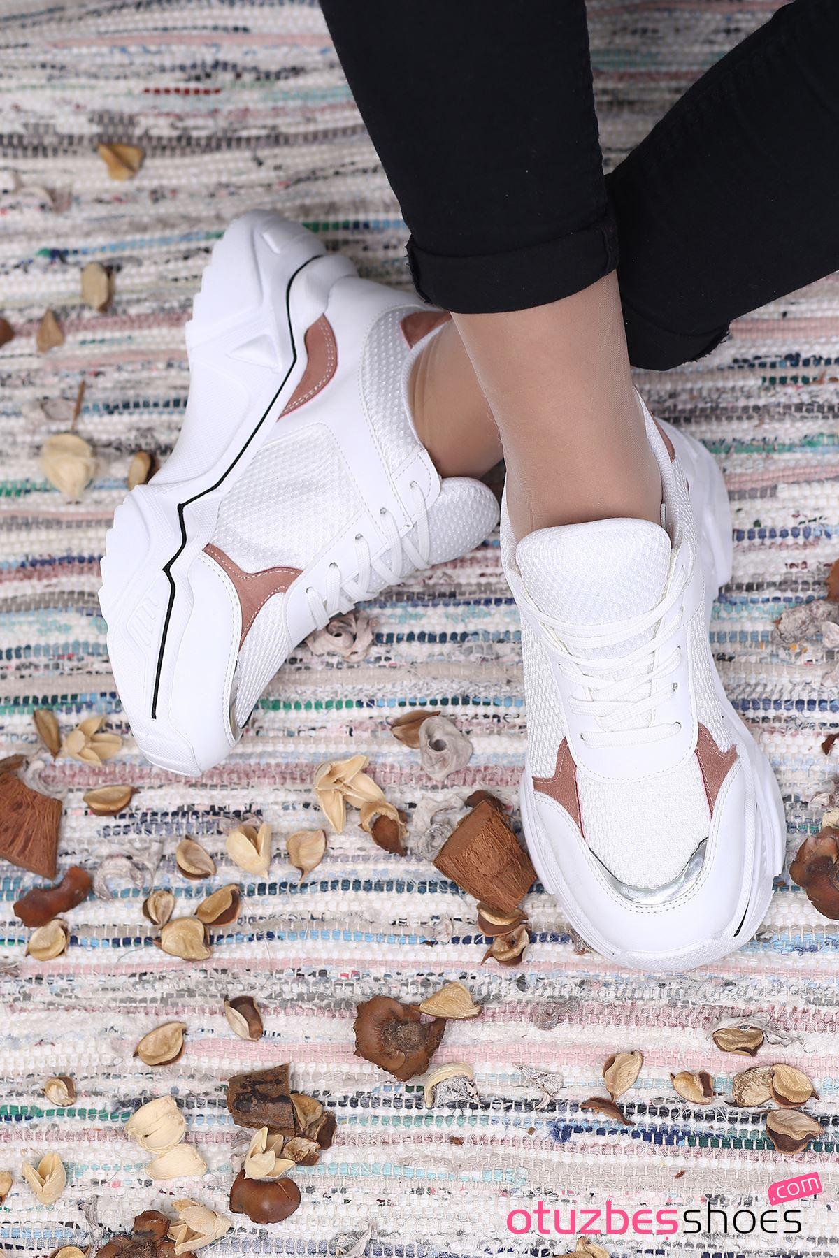 Ayça Mat Deri Pudra Detay FİLELİ  Spor Ayakkabı Beyaz