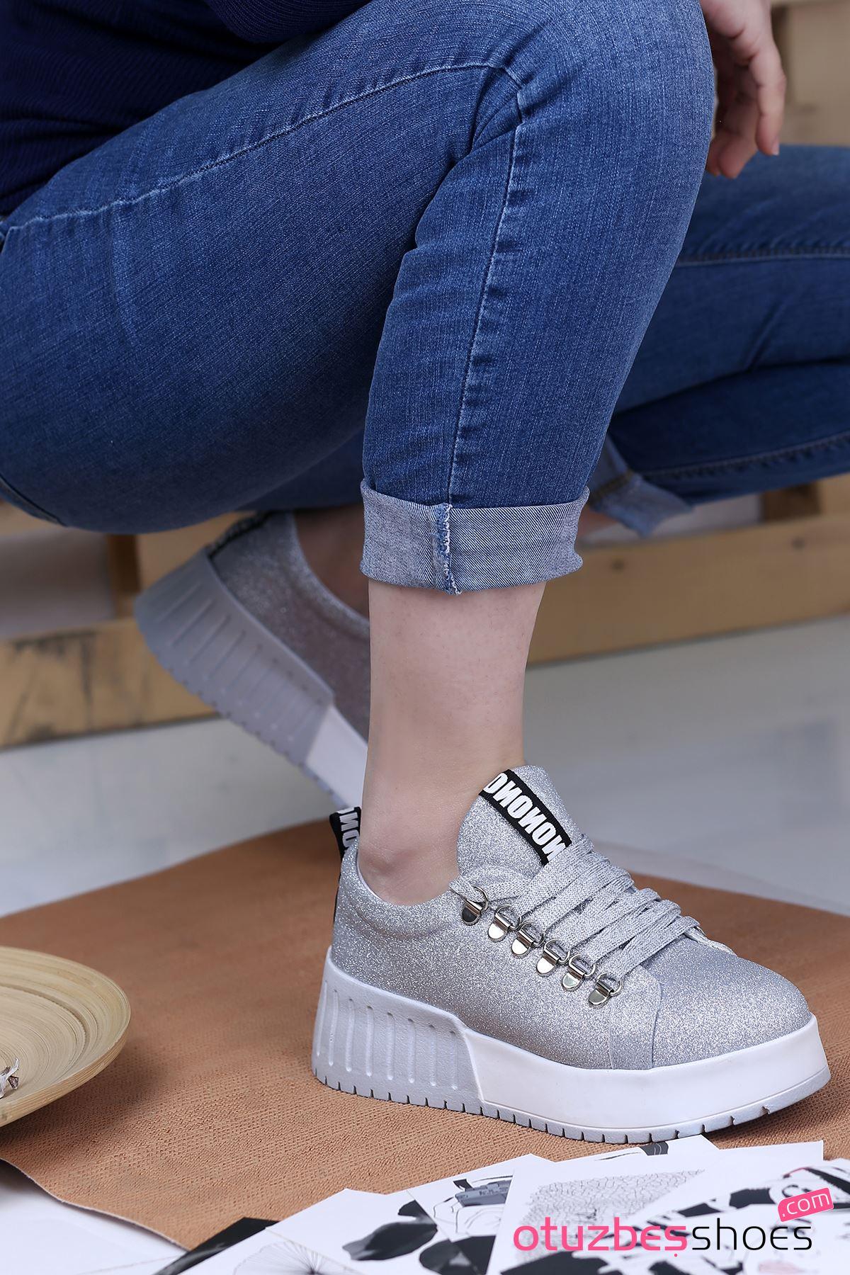 Masha Simli Bağcık Detay Spor Ayakkabı Gümüş
