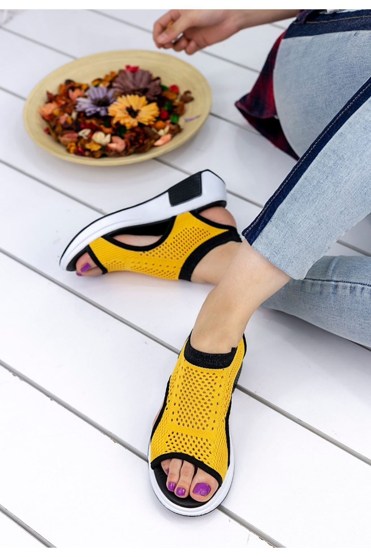 Ashley Çelik Örgü Detay Triko Sandalet Sarı