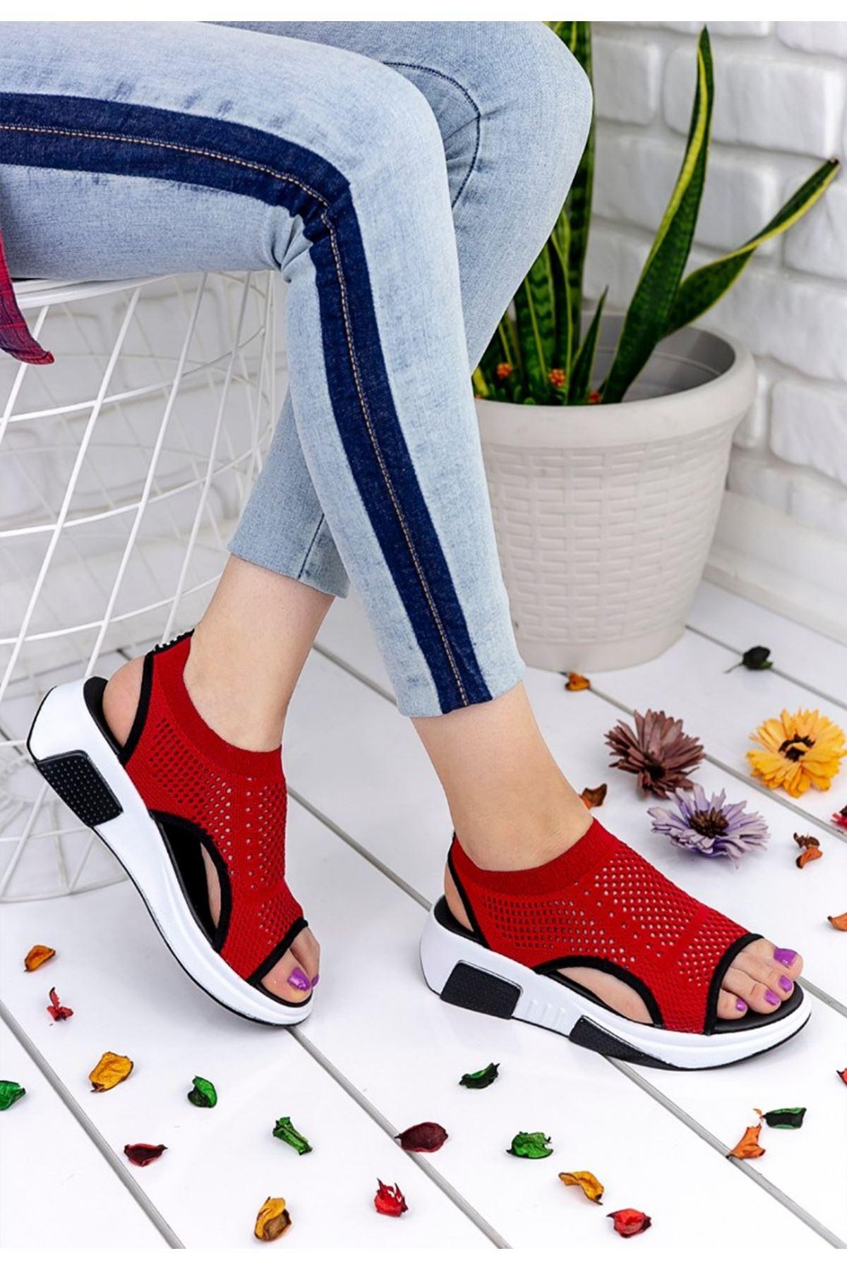 Ashley Çelik Örgü Triko Sandalet Kırmızı