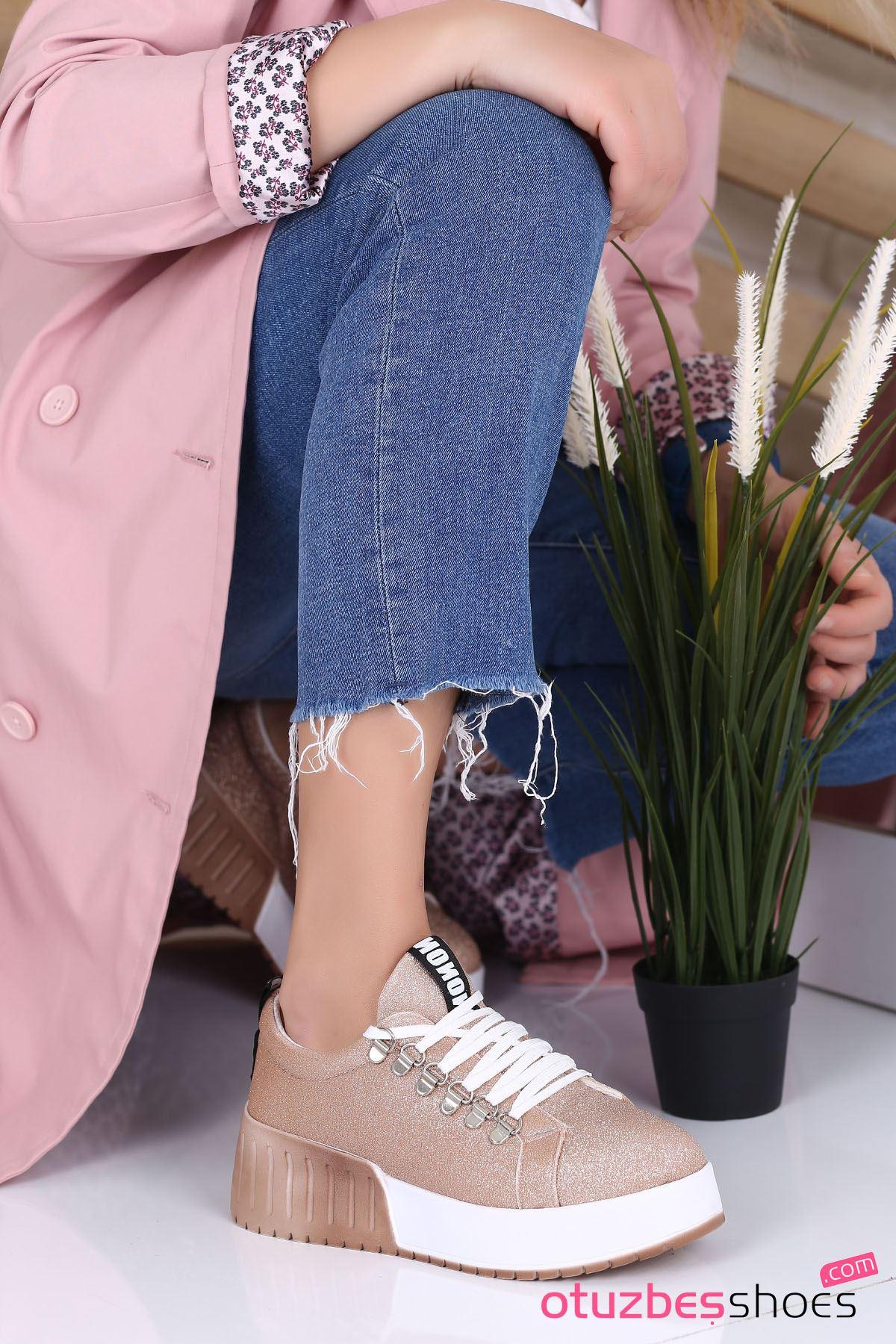 Masha Mat Deri Bağcık Detay Spor Ayakkabı Rose