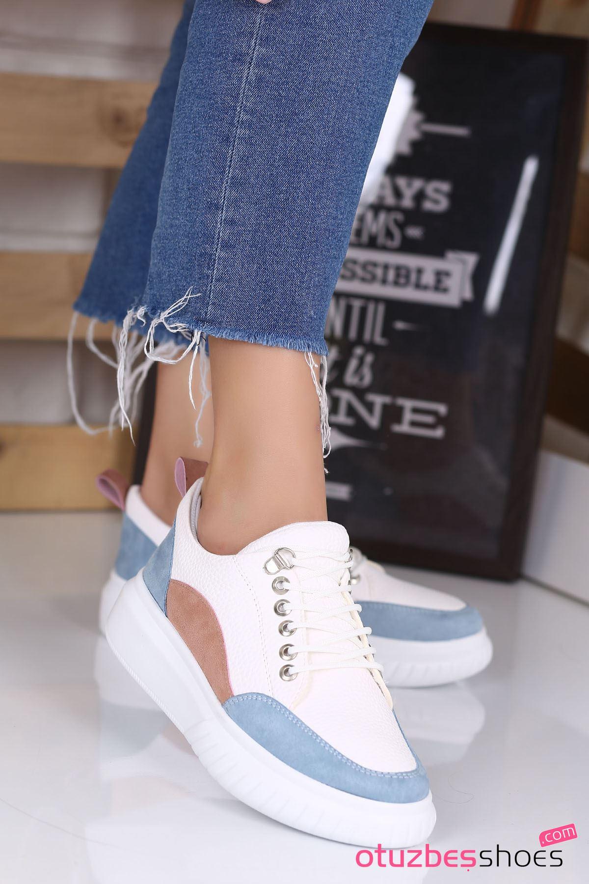 Dolly Mat Deri Renk Detay Kalın Taban Günlük Ayakkabı Bebe Mavi