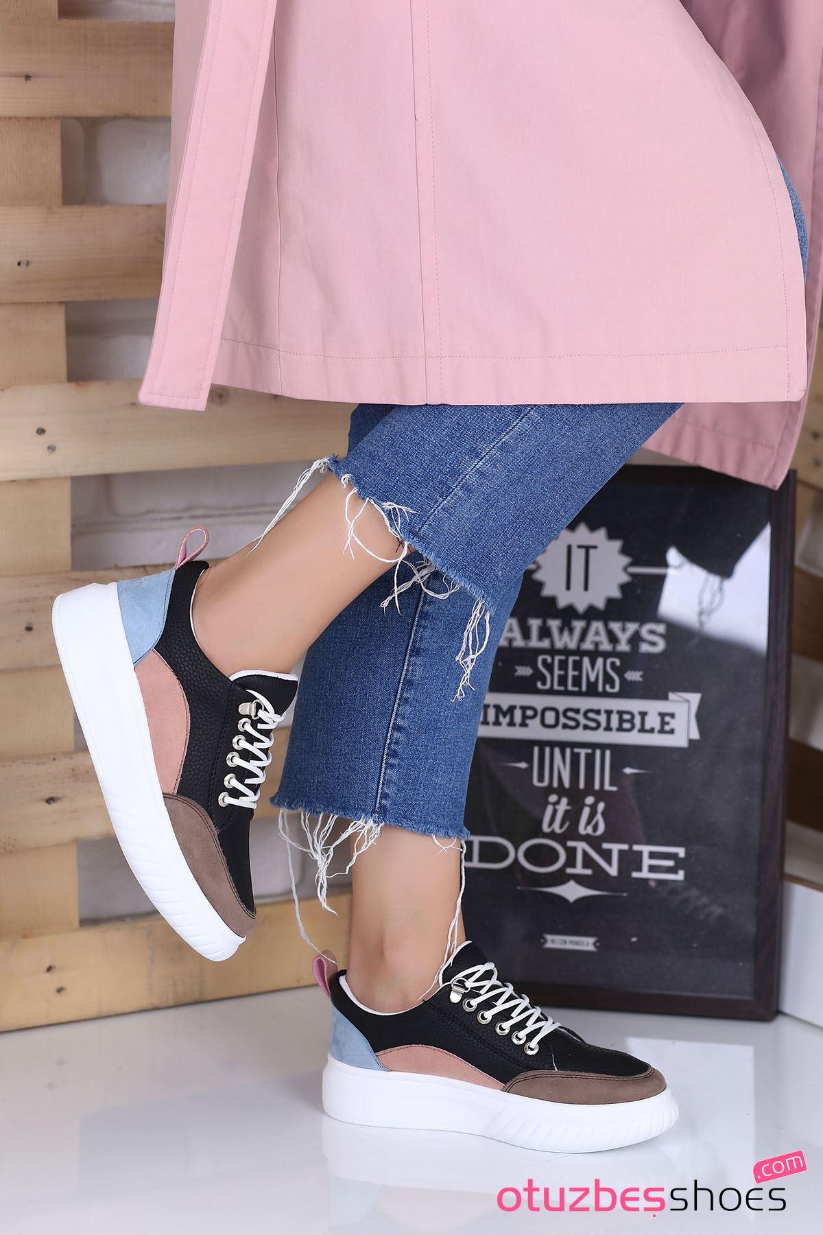 Dolly Mat Deri Renk Detay Kalın Taban Günlük Ayakkabı Vizon