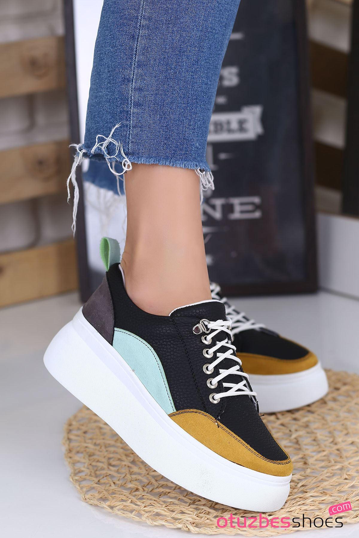 Kristi Mat Deri Renk Detay Kalın Taban Günlük Ayakkabı Hardal