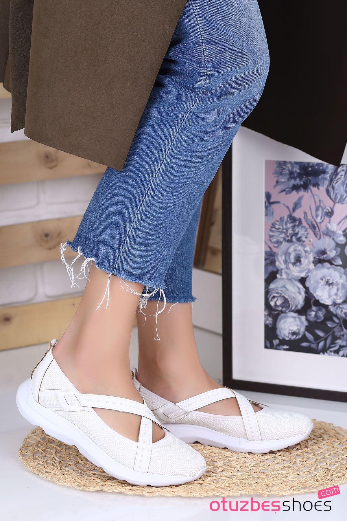 Alara Çapraz Bant Detay Günlük Ayakkabı Beyaz