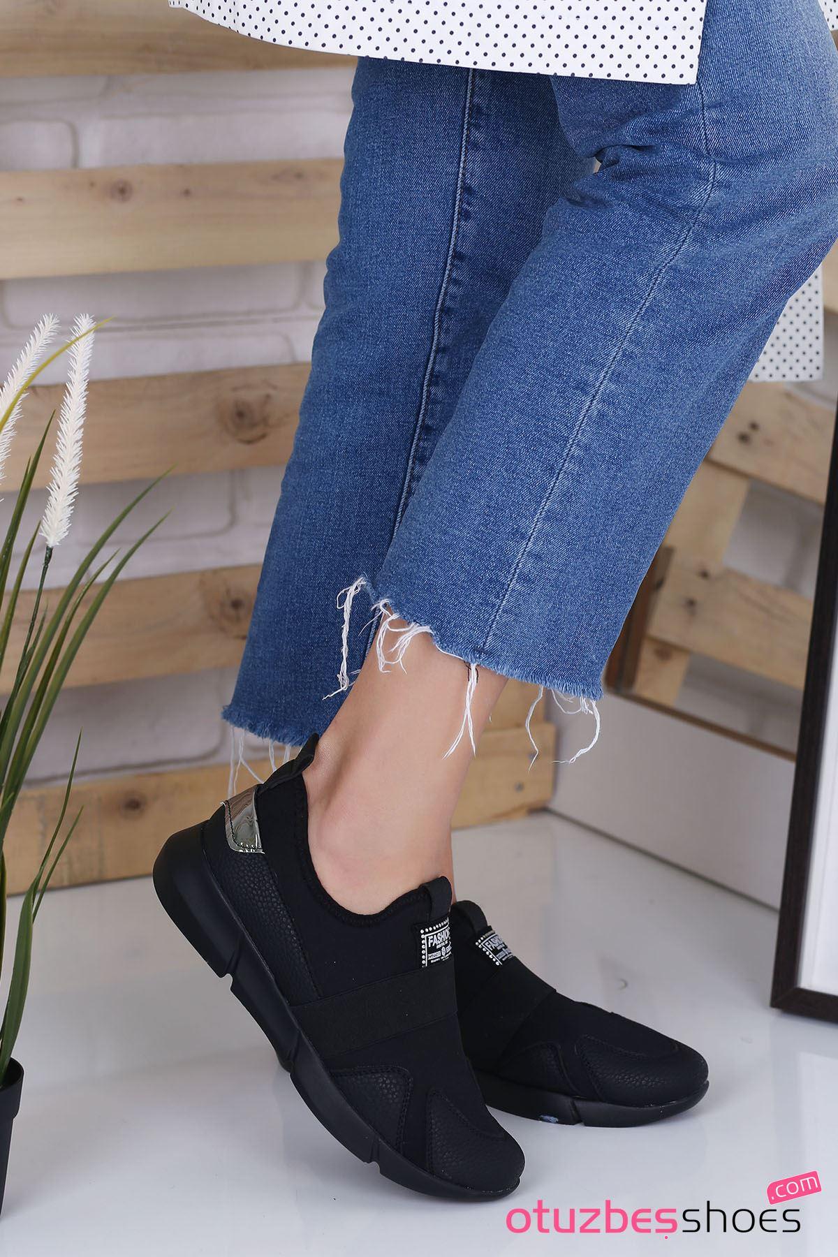Moren Mat Deri Dalgıç Kumaş Detay Günlük Ayakkabı Siyah
