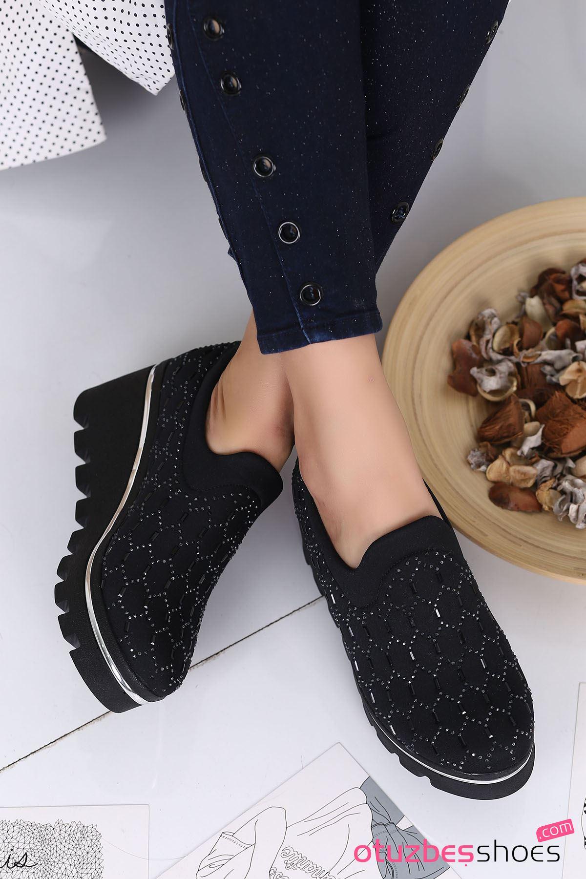 Anna Dalgıç Kumaş Taş Detay Dolgu Topuk Ayakkabı Siyah