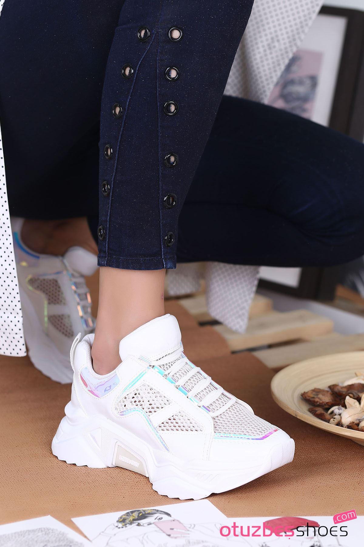 Rayn Mat Deri File Detay Spor Ayakkabı Beyaz