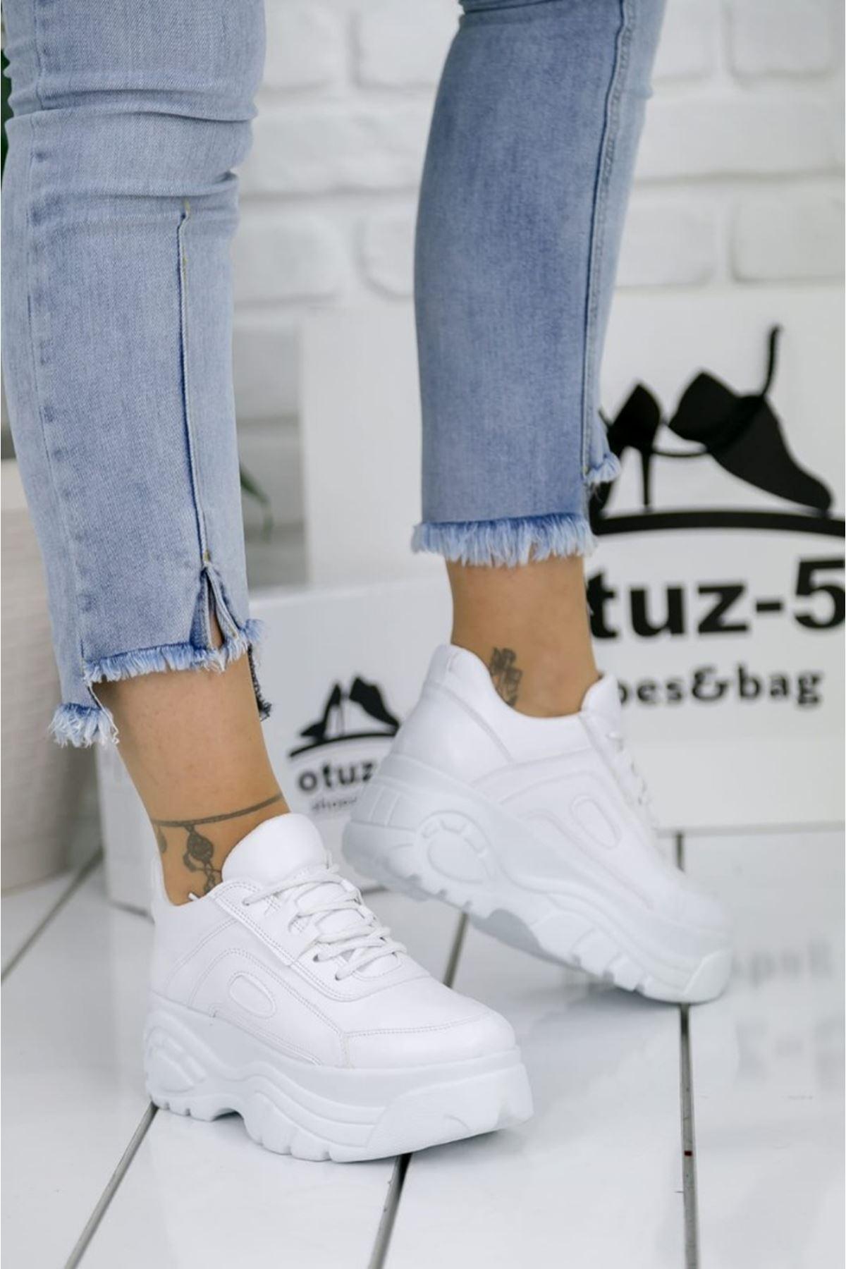 Agnes Mat Deri Bağcık Detay Kalın Taban Spor Ayakkabı Beyaz