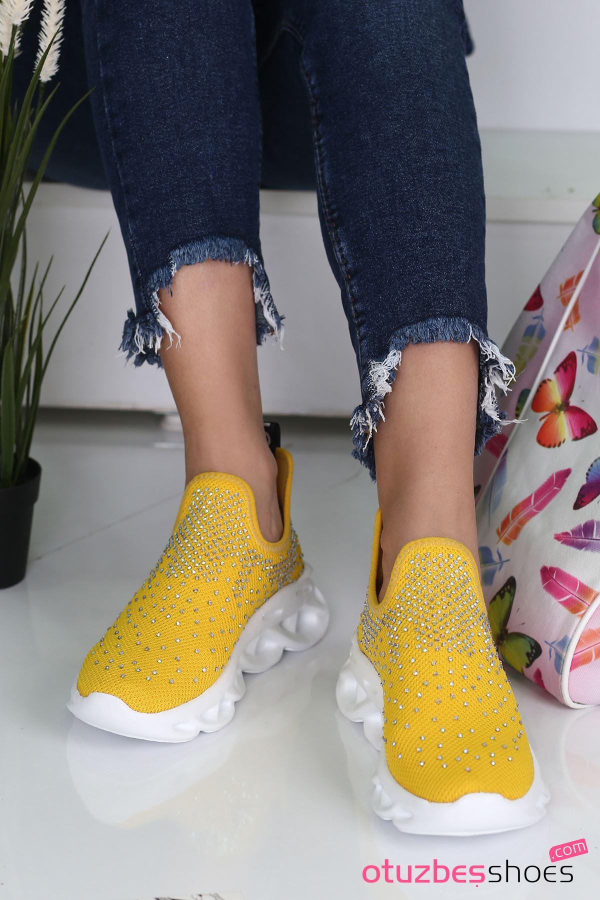 Halley Taş Detay Triko Spor Ayakkabı Sarı
