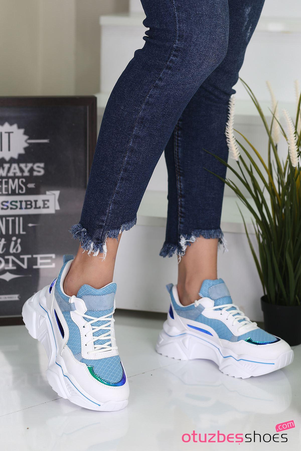 Nisa Mat Deri Hologram Detay Spor Ayakkabı Bebe Mavi