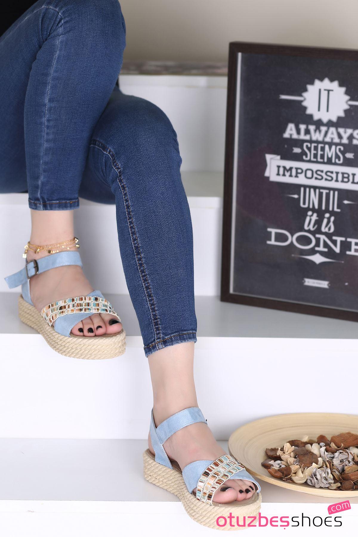 Işıl Süet Renkli Çapraz Detay Kadın Sandalet Bebe Mavi