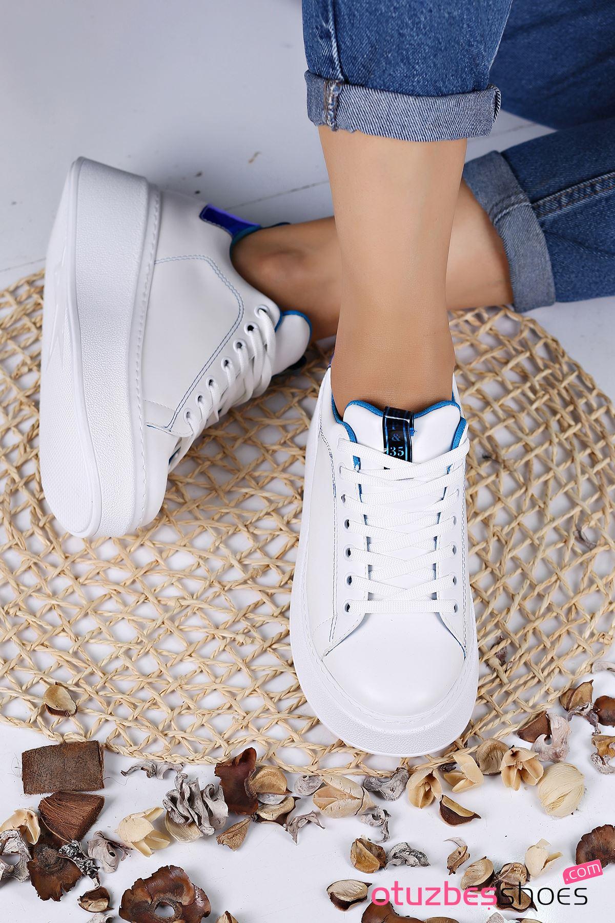 Masella Mat Deri Mavi Hologram Detay Kalın Taban Spor Ayakkabı Beyaz