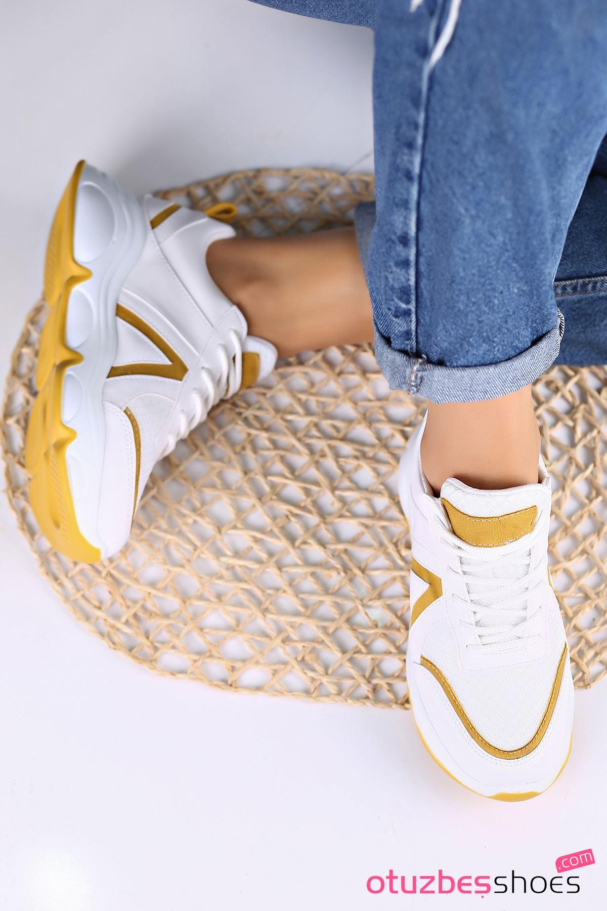 Serenay Mat Deri Kadın Spor Ayakkabı Hardal