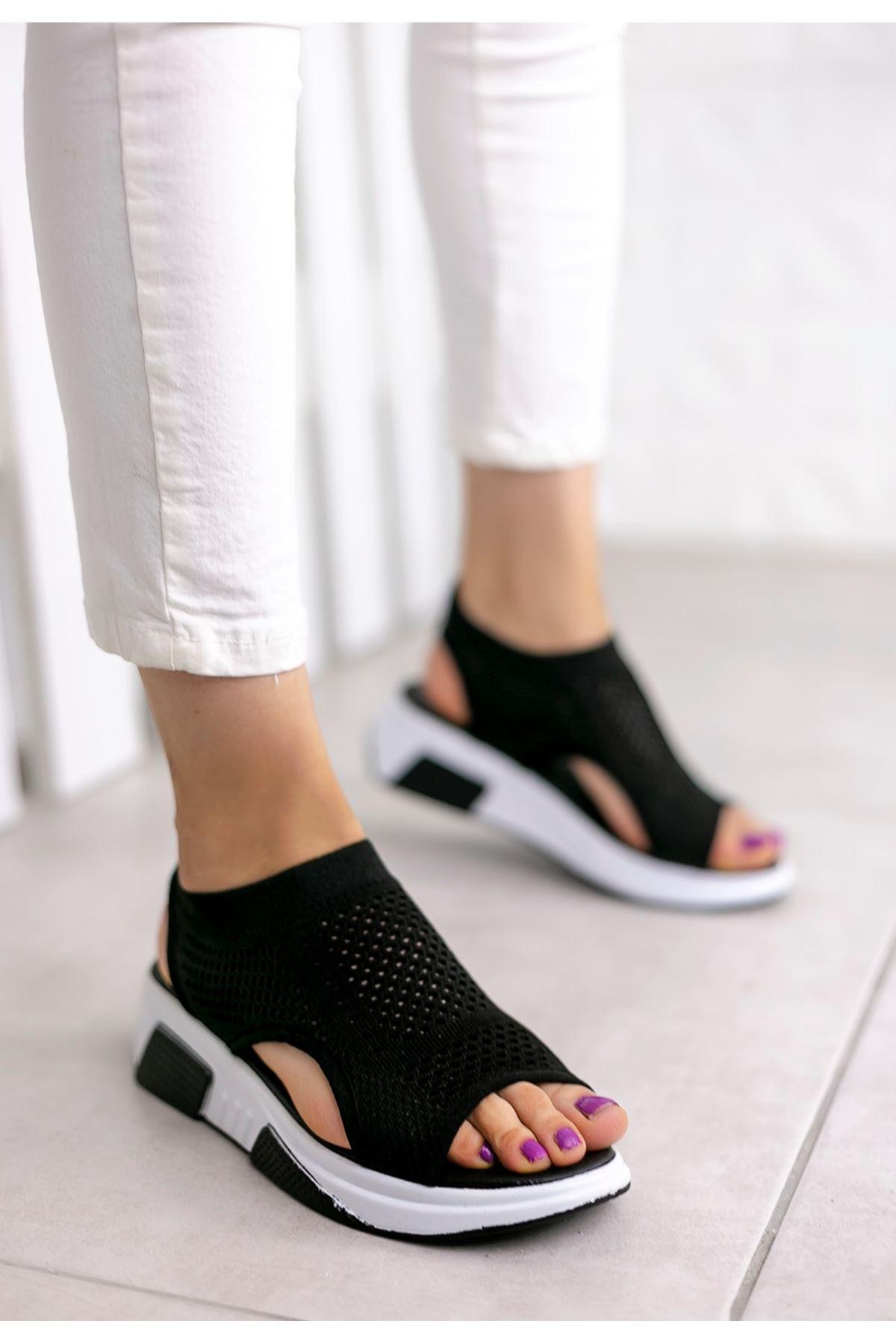 Ashley Çelik Örgü Triko Sandalet Siyah