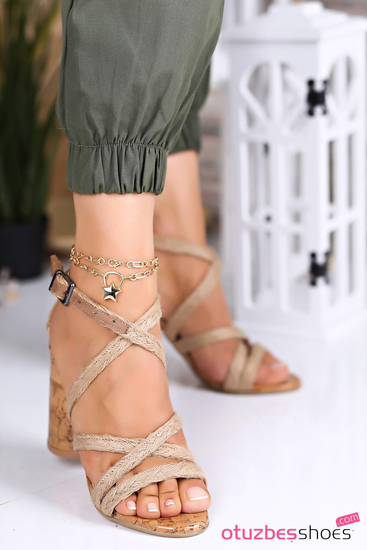 Sandal Hasır Yüksek Topuklu Kadın Ayakkabı
