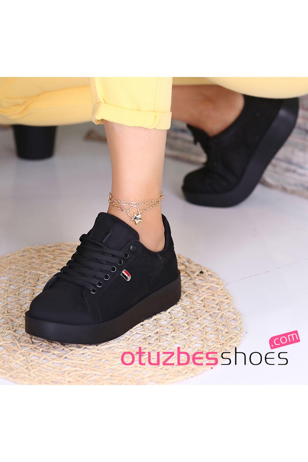 Birsu Süet Kadın Spor Ayakkabı Siyah Süet