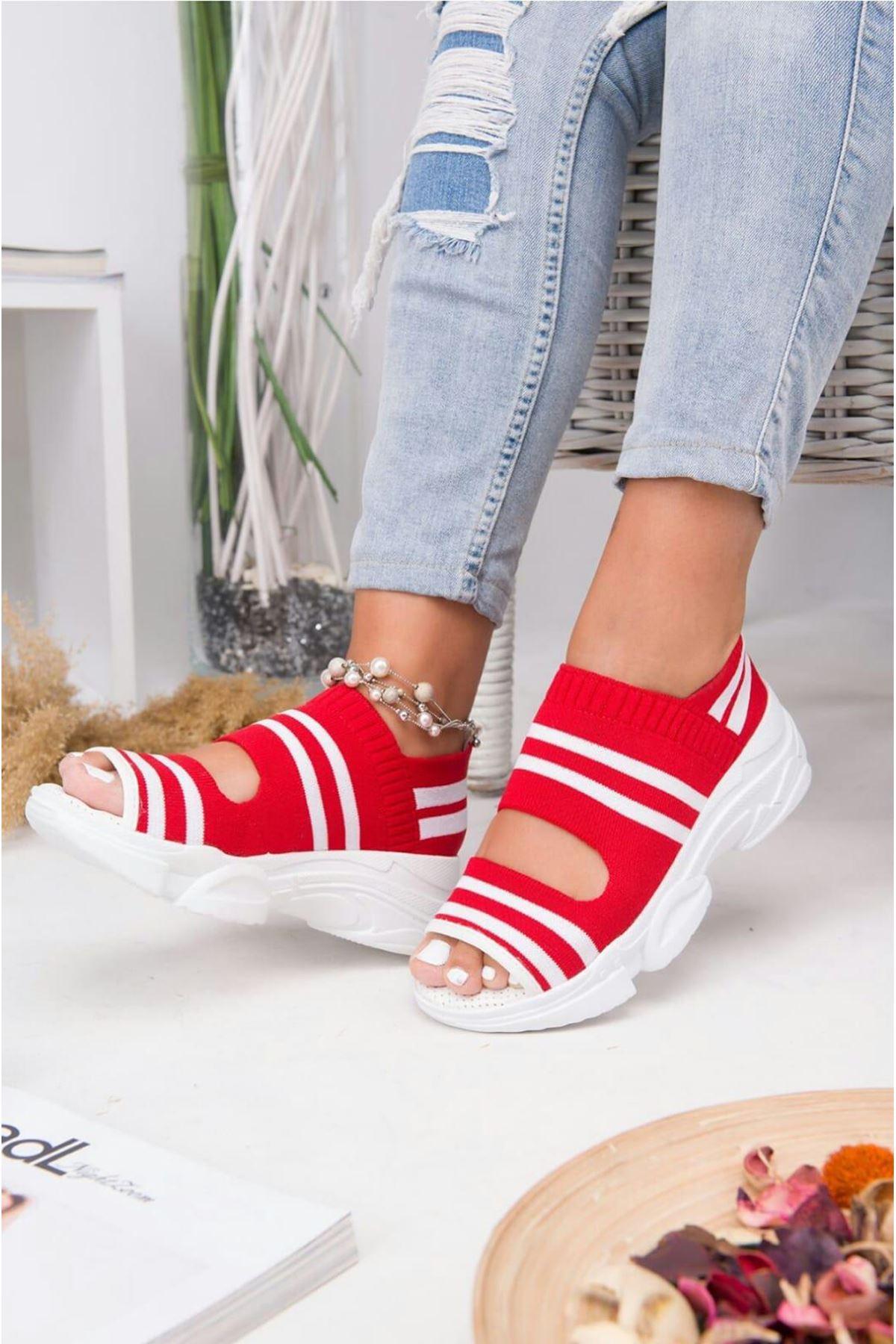 Astor Triko Çizgi Detaylı Kadın Sandalet Kırmızı