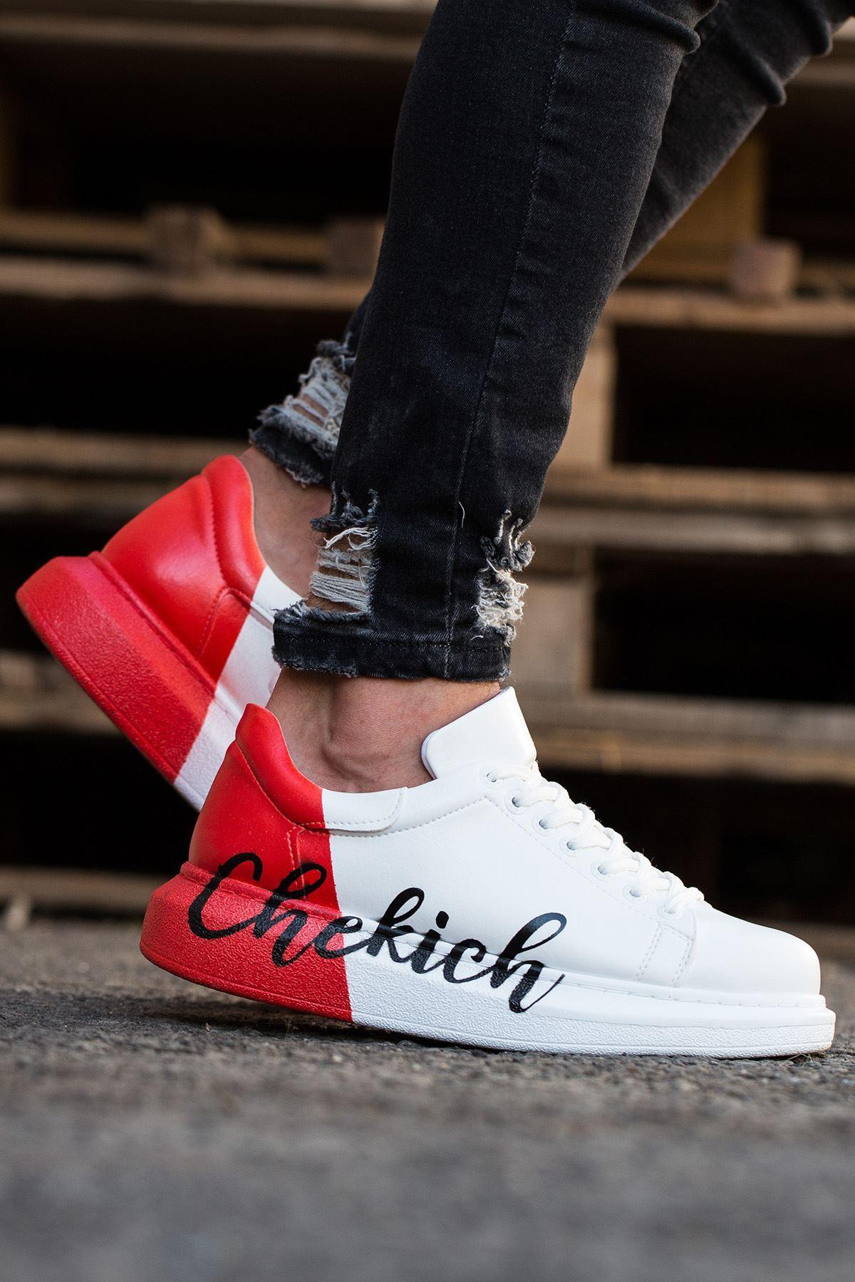 Chekich CH254 BT Erkek Ayakkabı 427 BEYAZ KIRMIZI CHEKICH