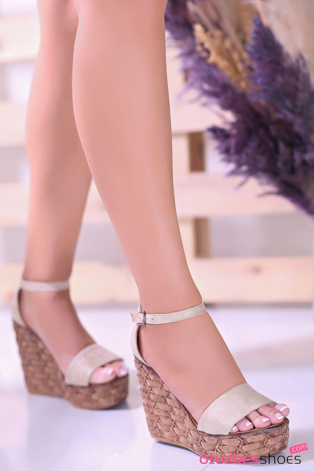 For You Vizon Süet Dolgu Topuk Kadın Ayakkabı
