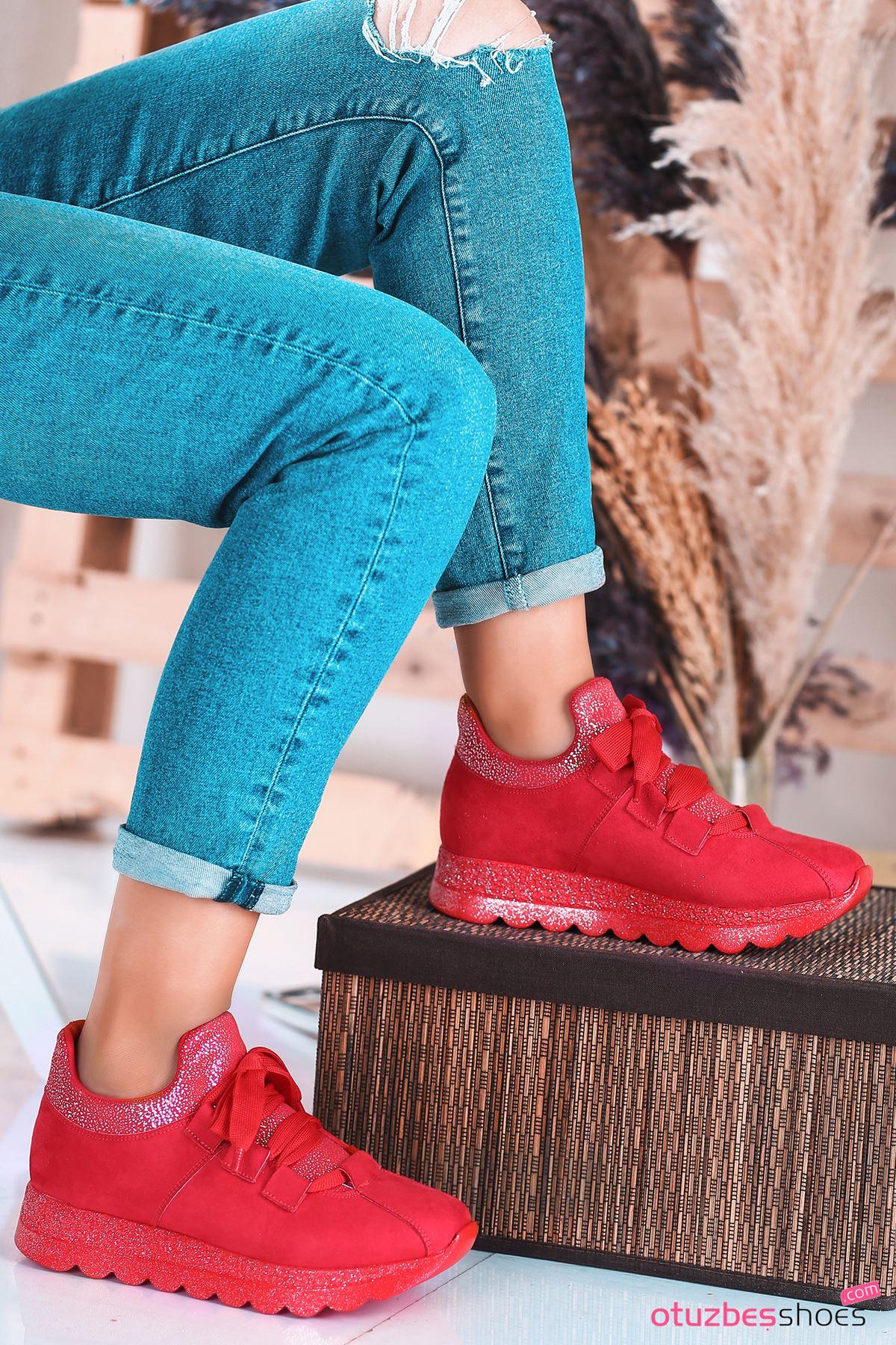 Arissa Kırmızı Bağcık Detay Kadın Spor Ayakkkabı