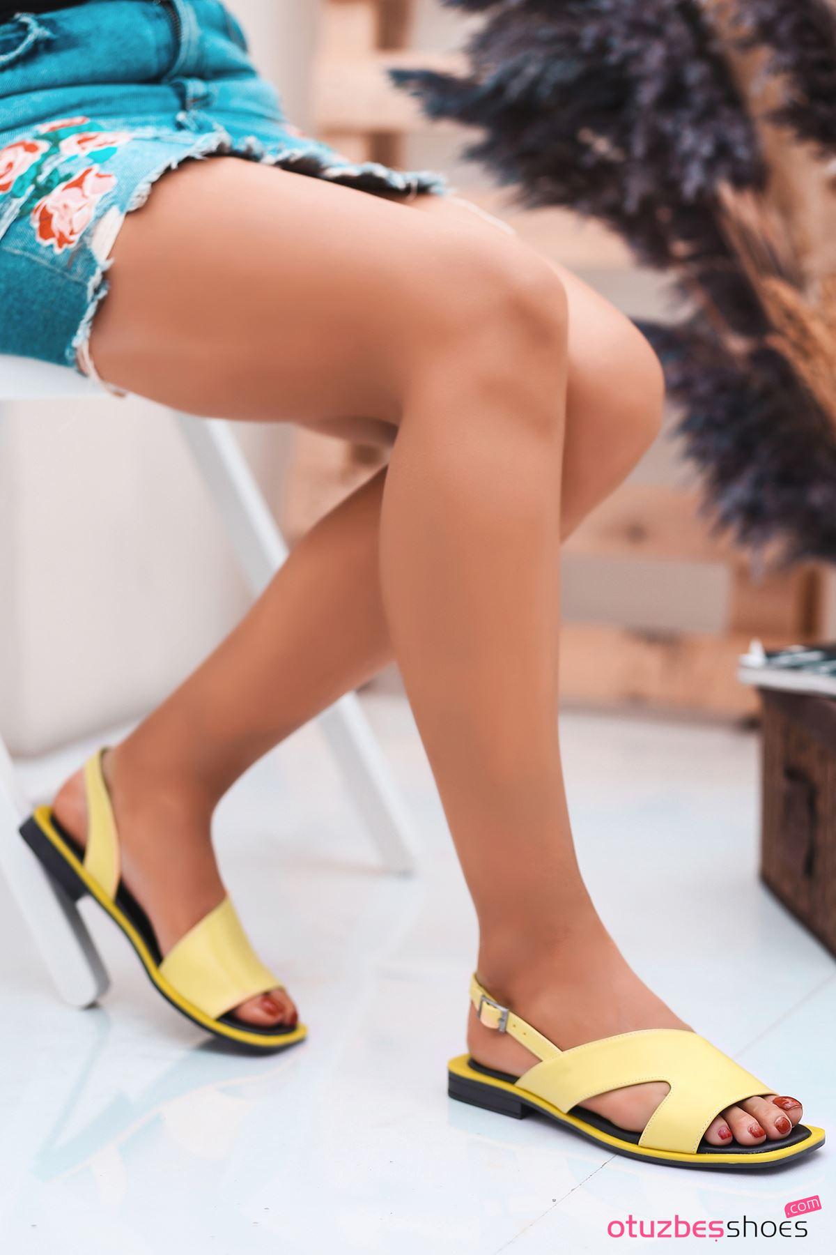 Most Mat Deri Kadın Sandalet Sarı