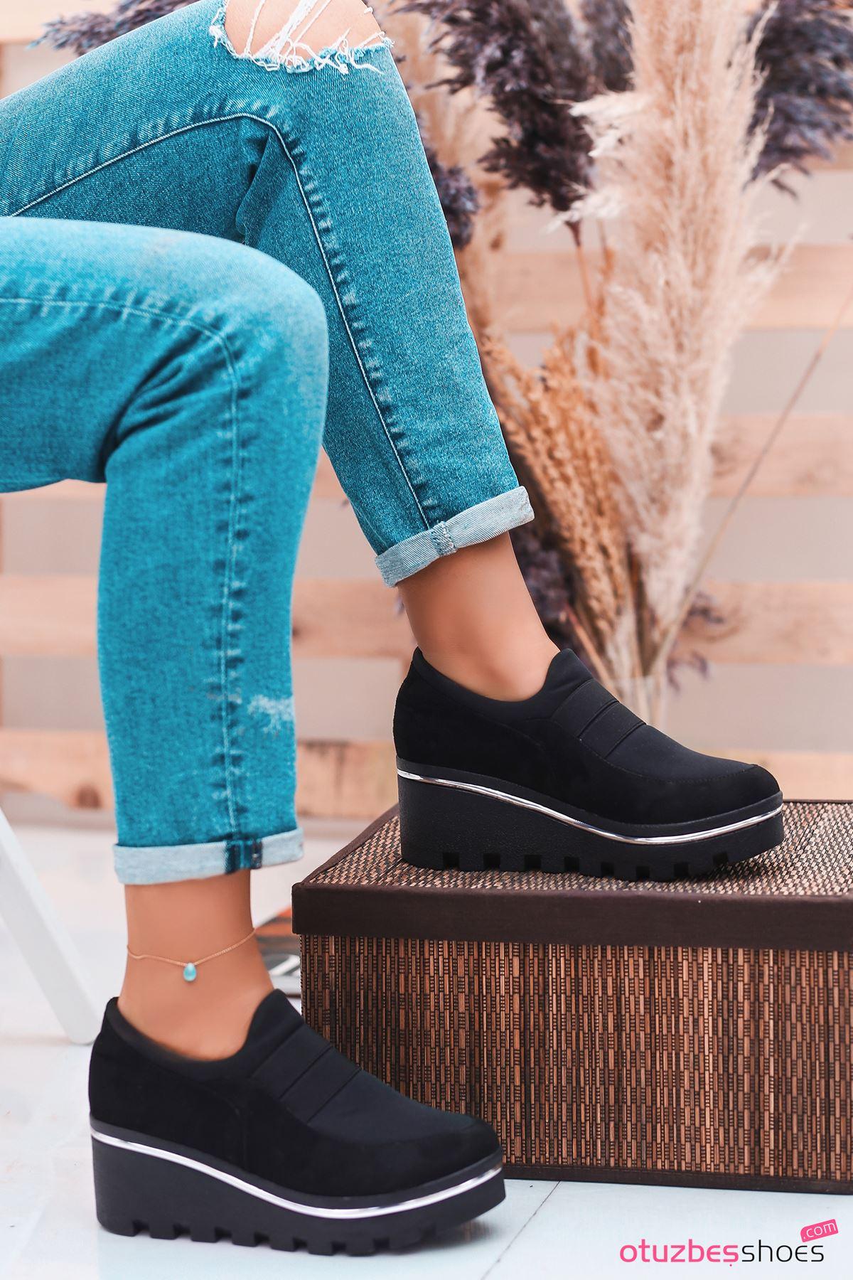 Bratz Lastik Dolgu Topuk Ayakkabı Siyah Süet