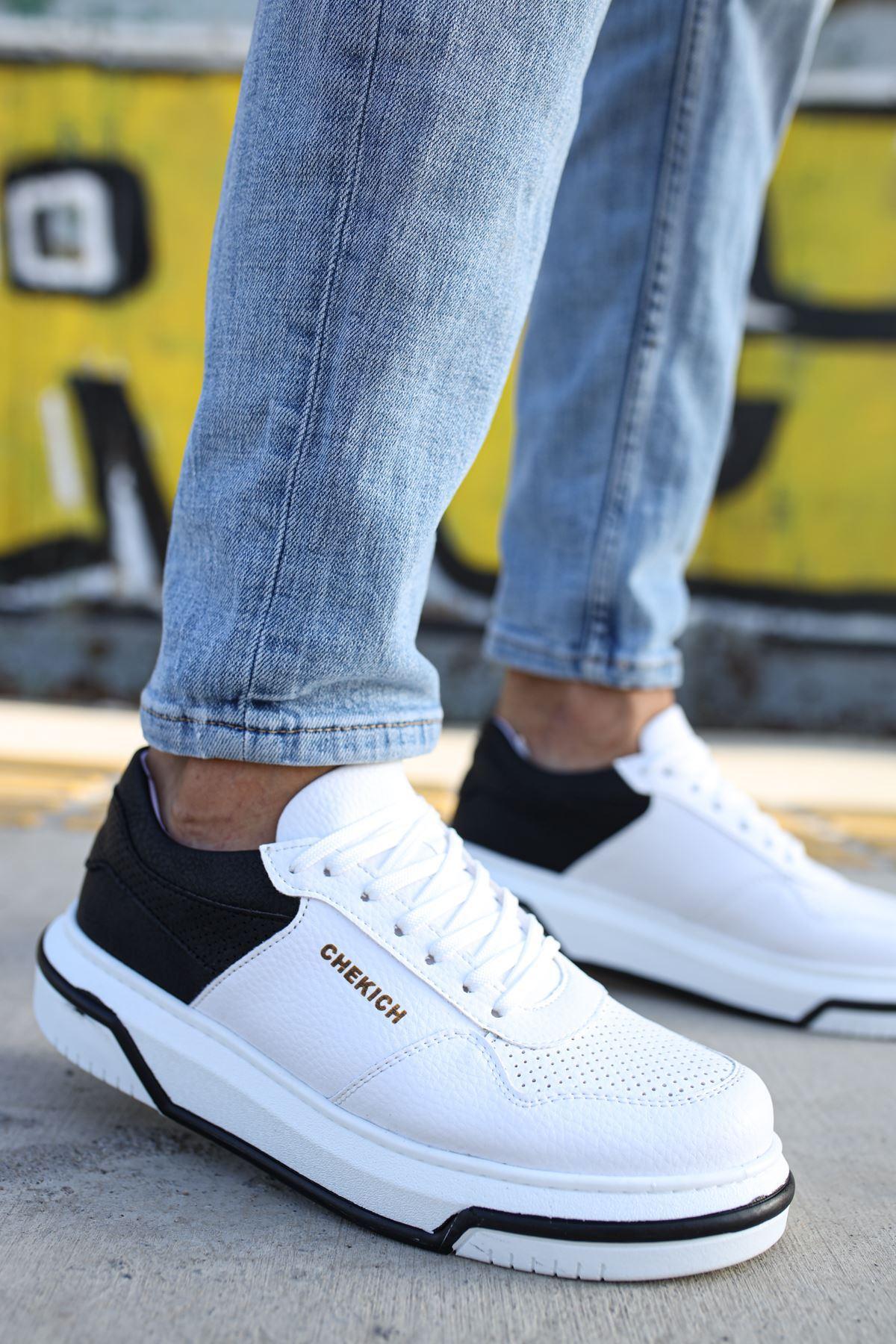 Chekich CH075 İpekyol Beyaz Taban Erkek Ayakkabı BEYAZ / SİYAH
