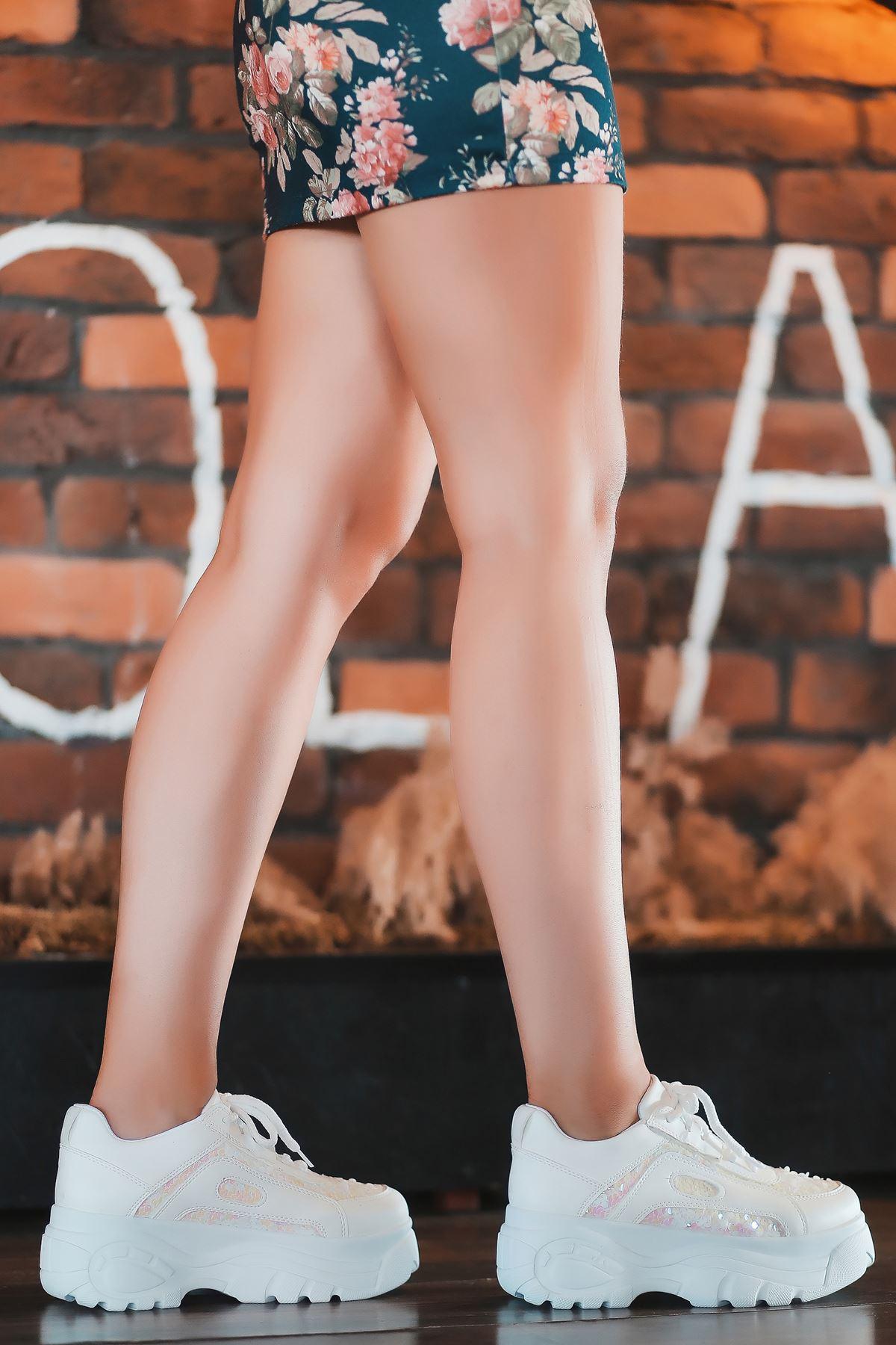 Agnes Mat Deri Pembe Pul Detay Kalın Taban Spor Ayakkabı Beyaz