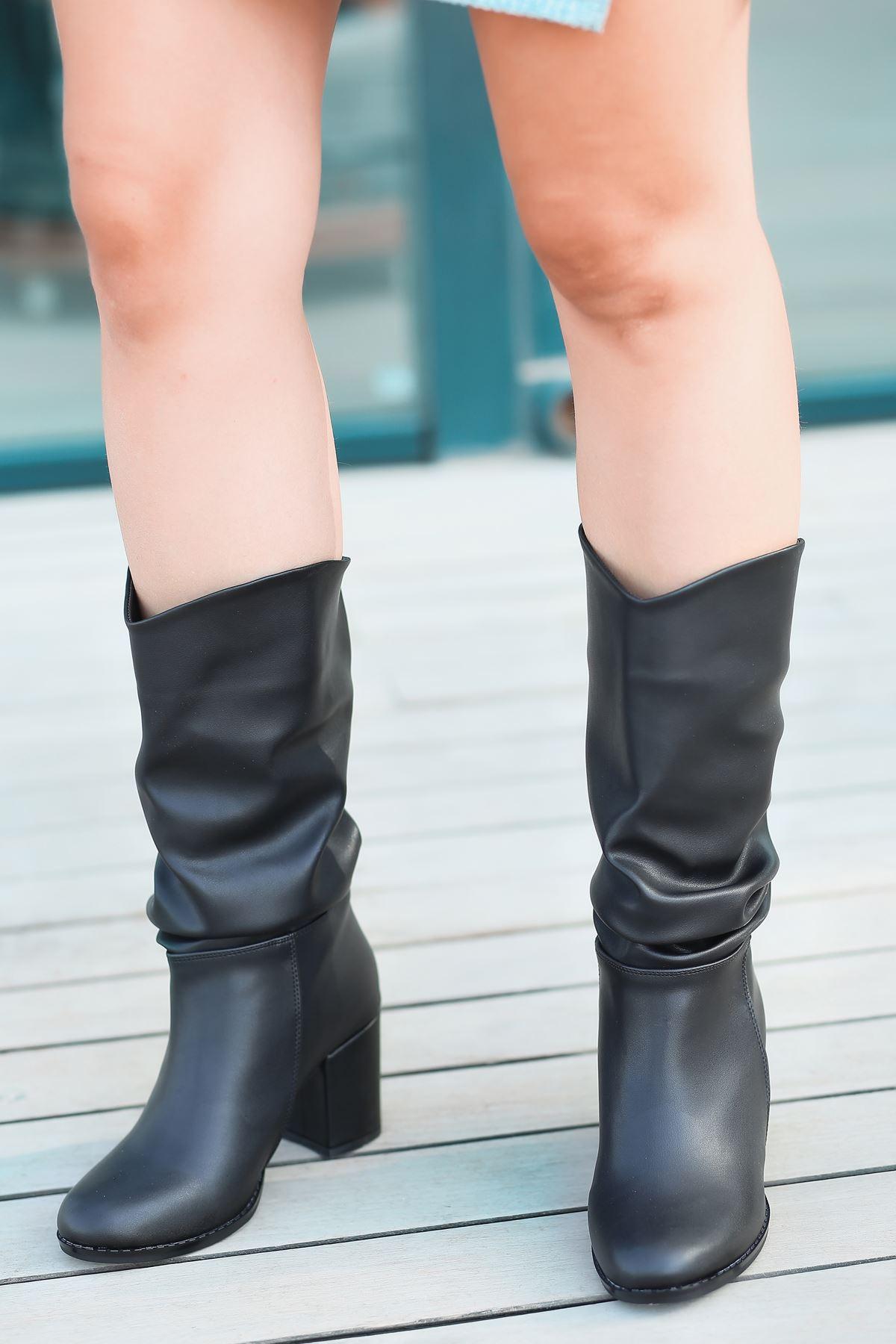Vivo Körüklü Yüksek Topuklu Siyah Kadın Çizme