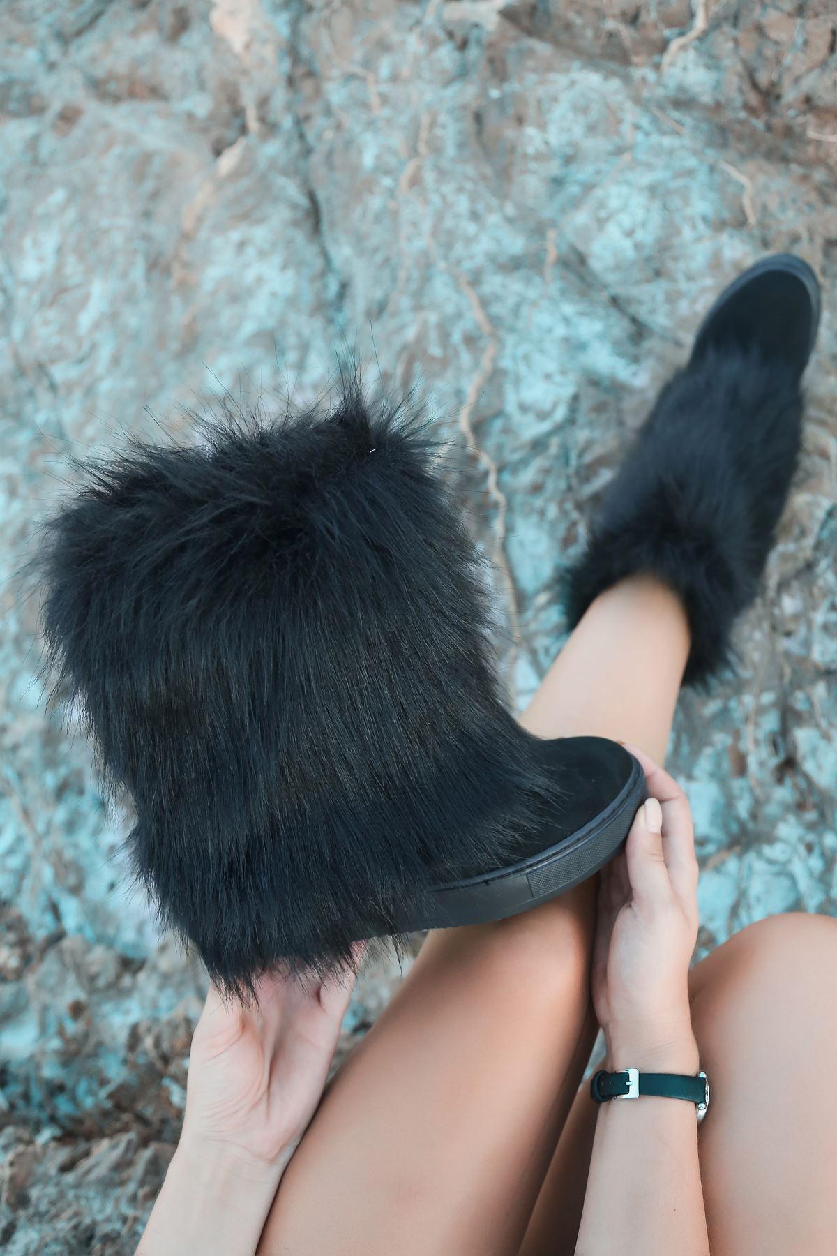 Brenda Kürk Detaylı Siyah Süet Gizli Topuk  Kadın Çizme