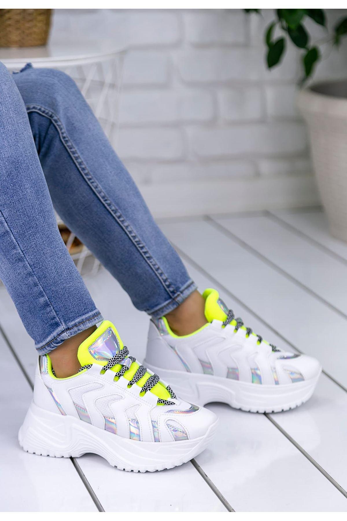 Milo Yeşil Hologram Bağcık Detay Kadın Spor Ayakkabı
