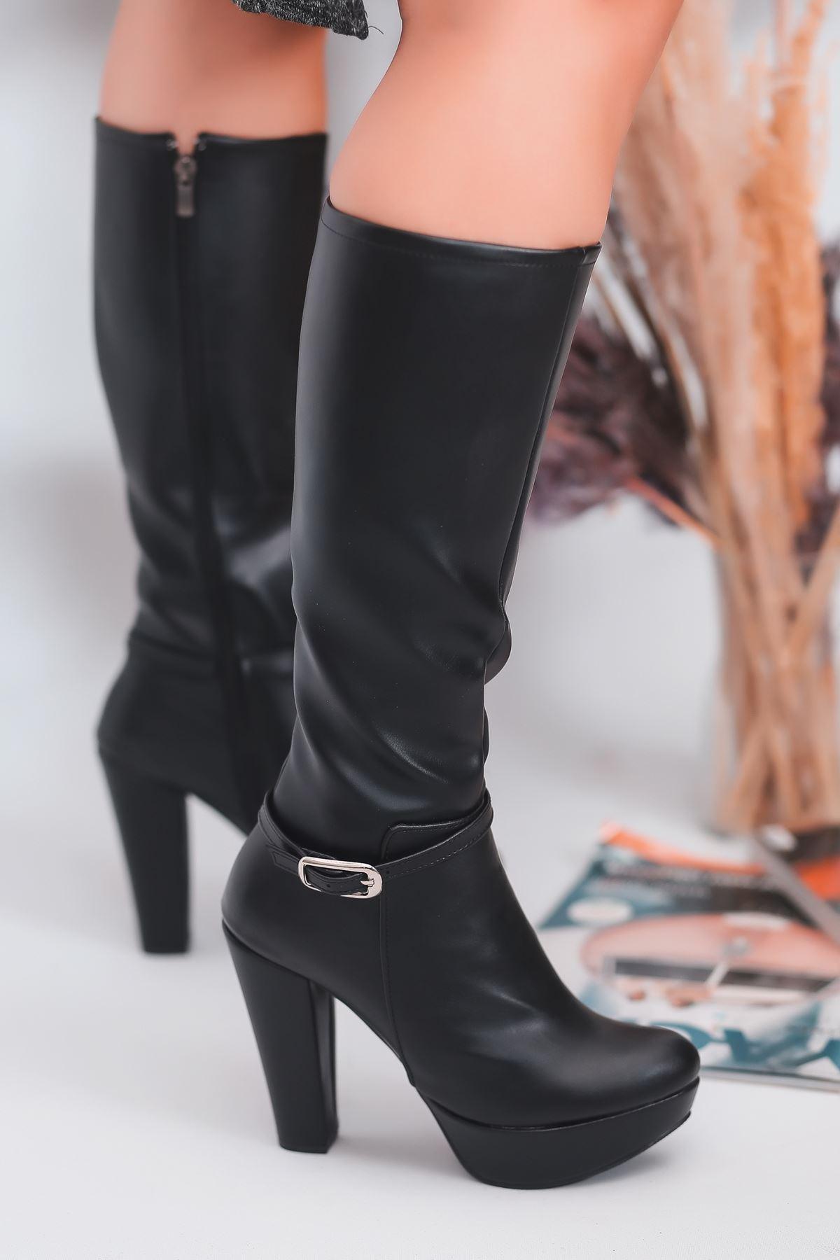 Rumeya Mat Deri Toka Detay Platform Çizme Siyah