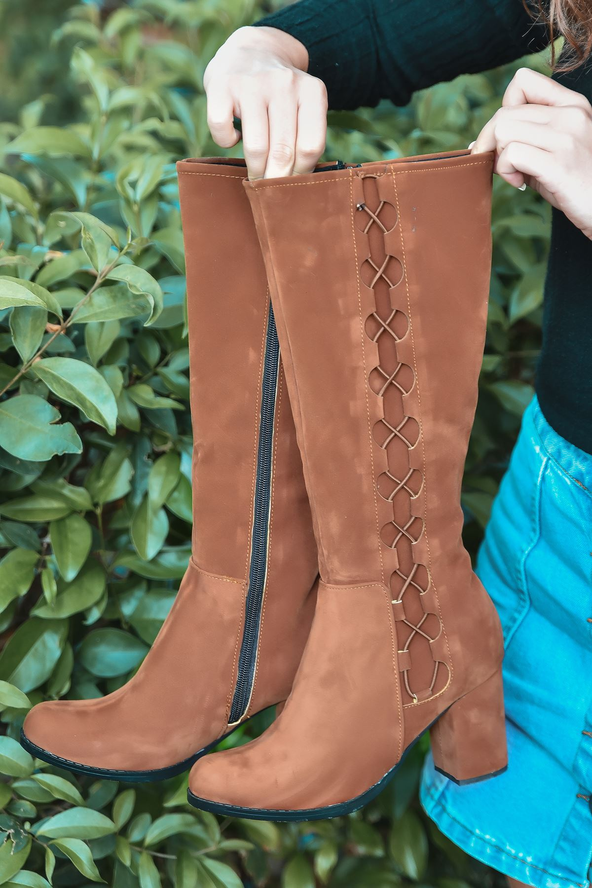 Parker İp Detay Kadın Platform Çizme  Taba Süet