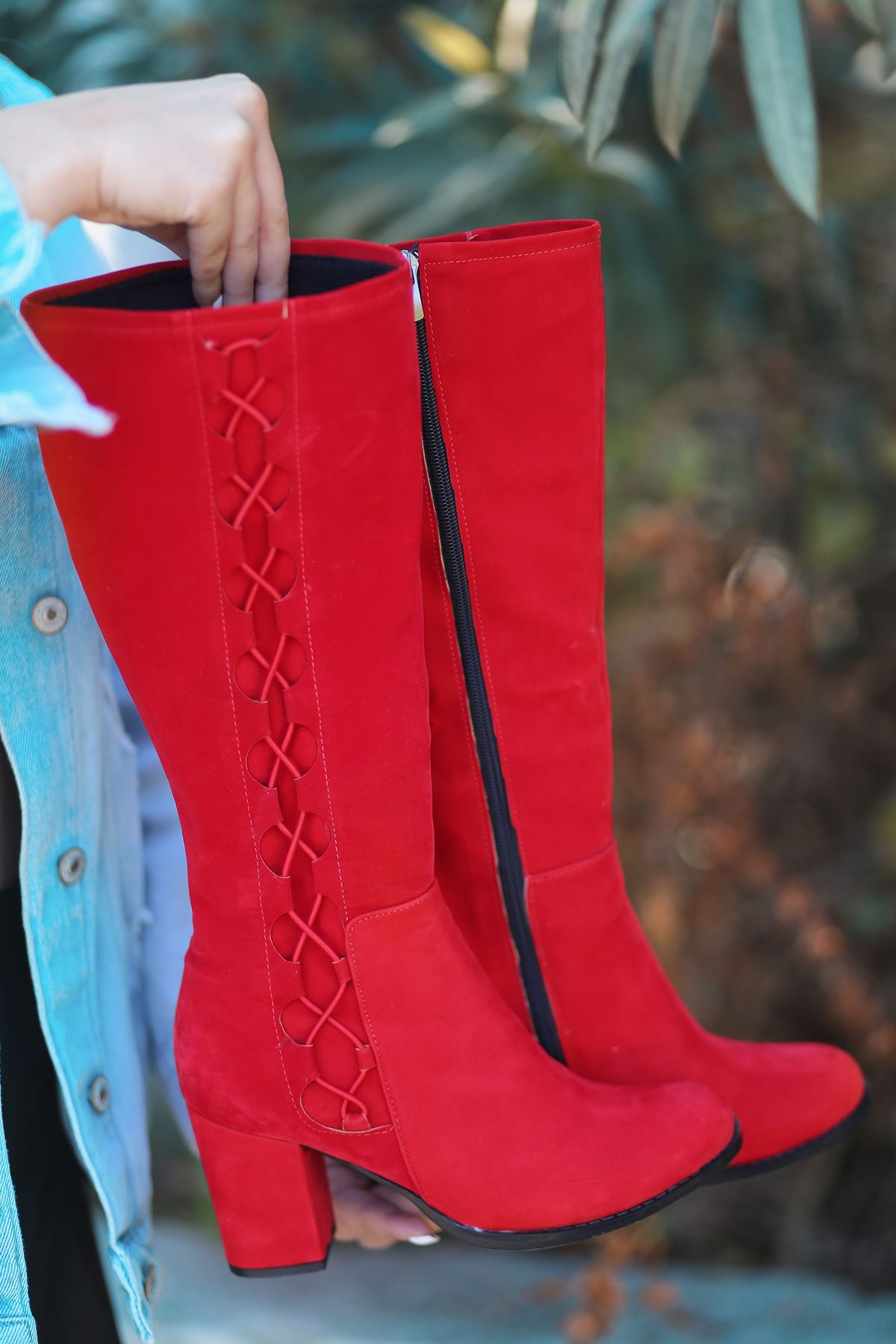Parker İp Detay Kadın Platform Çizme Kırmızı Süet