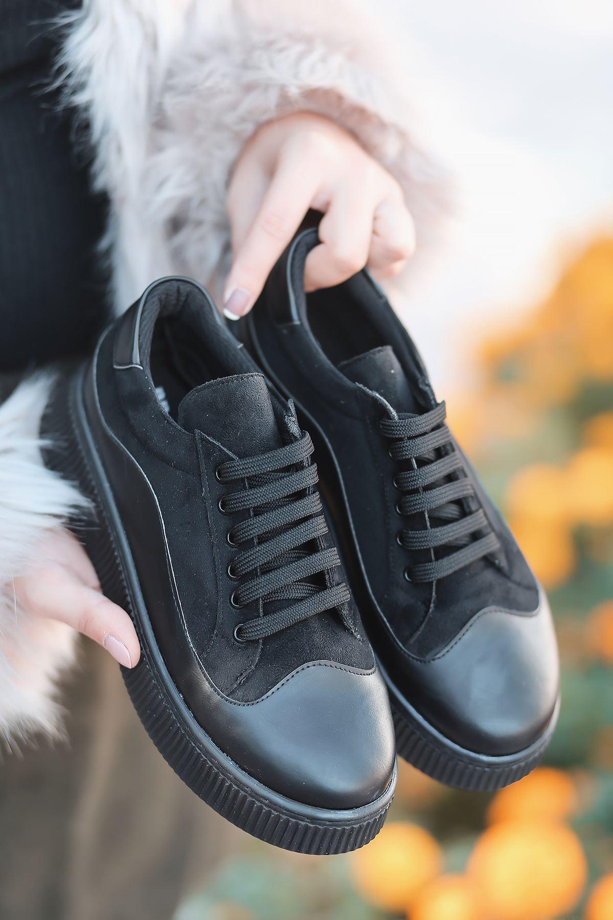 Dorris Bağcık Detaylı Süet Parçalı Siyah Kadın Sneaker