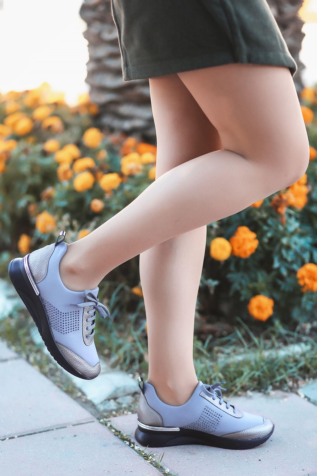 Vern Taş Detaylı Bağcıklı Gri Kadın Spor Ayakkabı