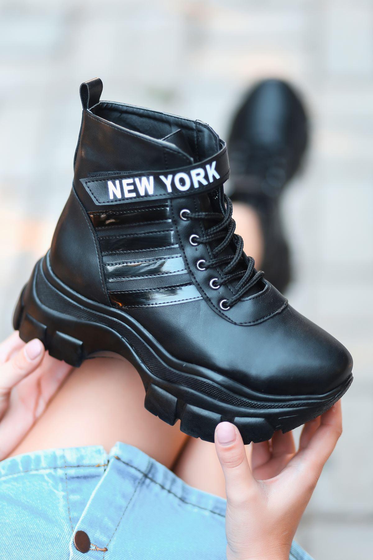 New York  Mat Deri Yazı Detay Spor Ayakkabı Siyah ST