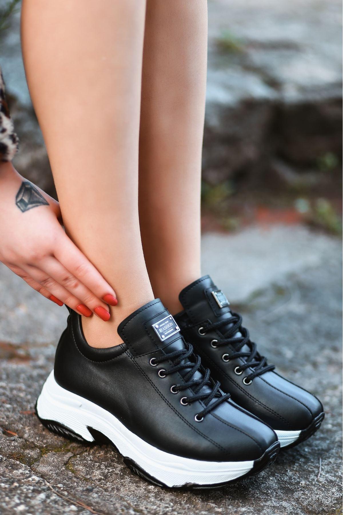 For-501 Mat Deri Bağcıklı Kadın Spor Ayakkabı Siyah