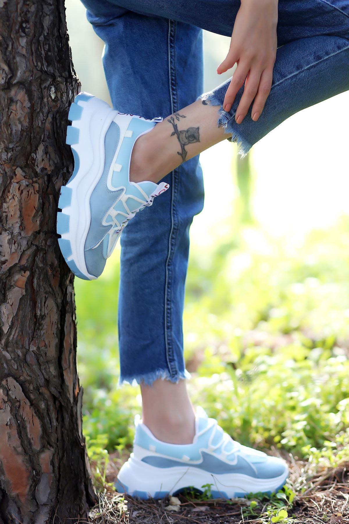 Nice Dalgıç Kumaş Detaylı Bağcıklı Mavi Kadın Spor Ayakkabı